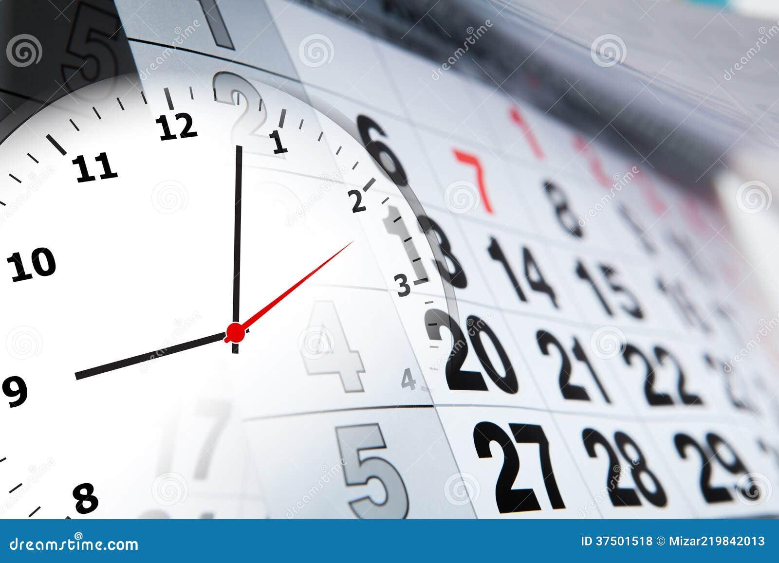 与几天和时钟的数字的挂历