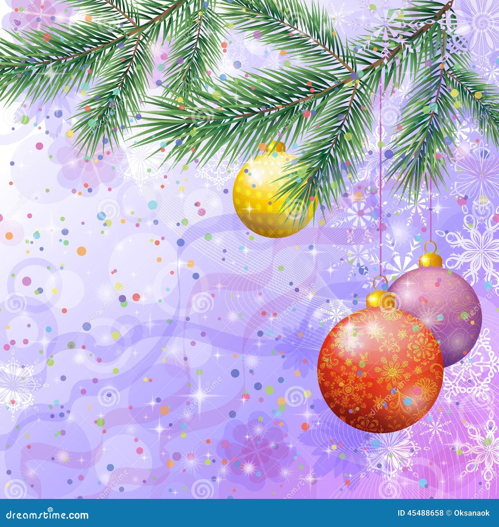 与分支和球的圣诞节背景