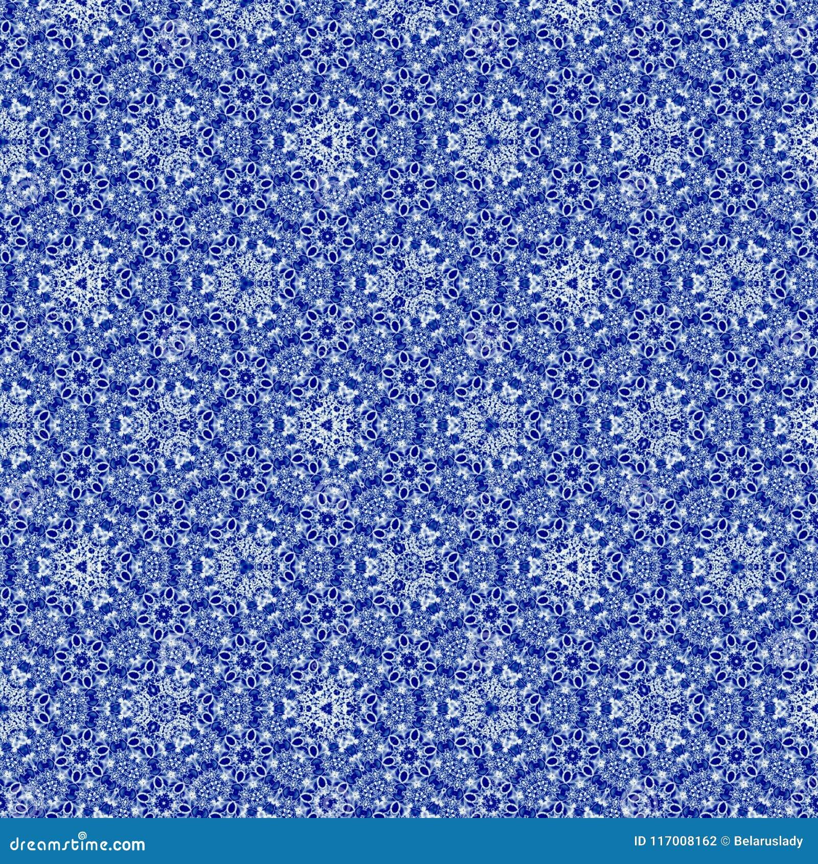 与刺绣richelieu的作用的连续的样式在蓝色gzhel颜色的,非常纺织品的好的样式和织品