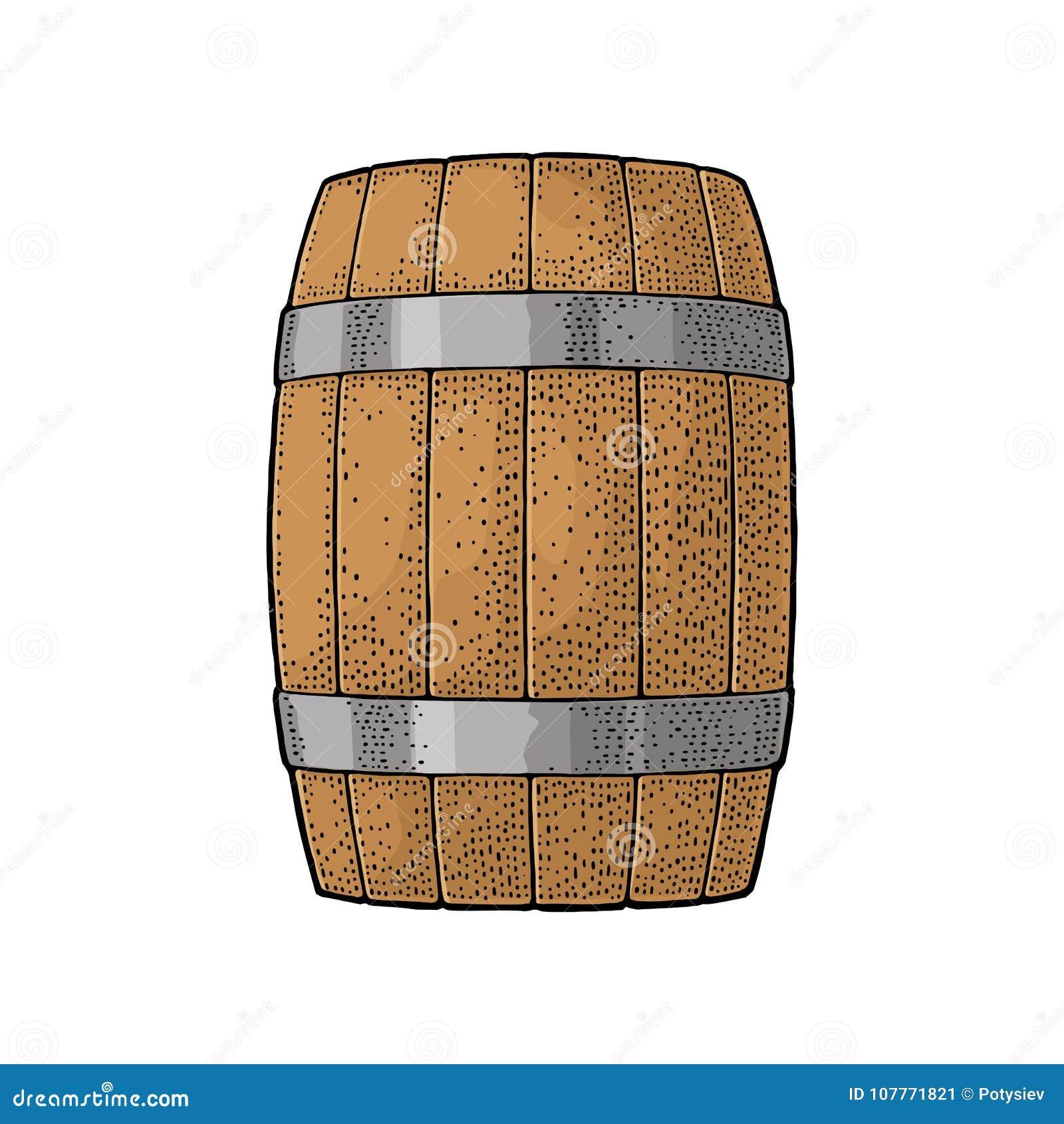 与刻记传染媒介例证的金属箍的木桶