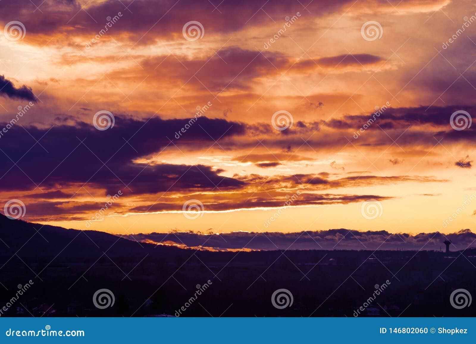 与剪影林木线和火云彩的多色的日落