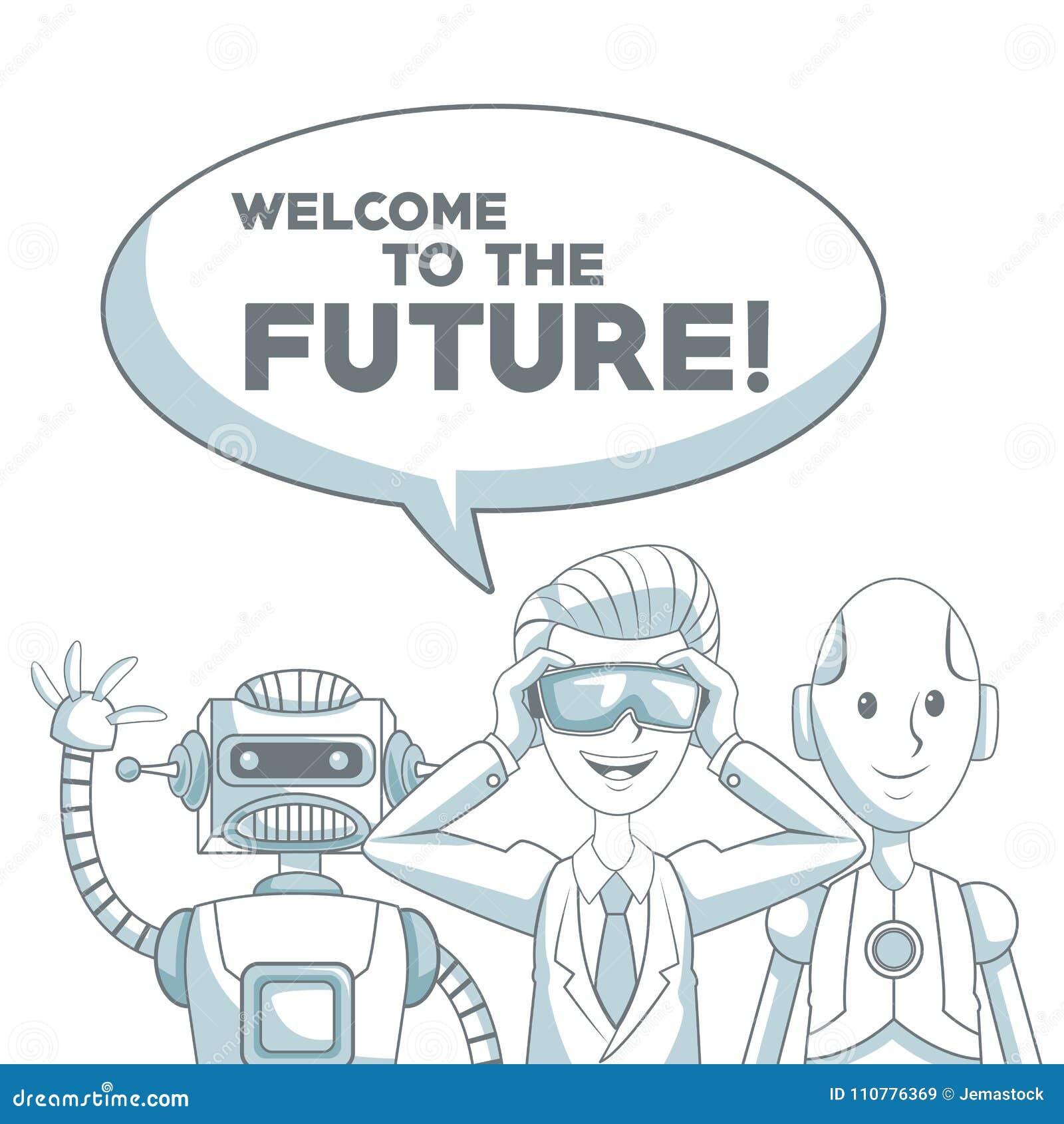 与剪影颜色部分遮蔽的白色背景集合人和机器人有对话框文本欢迎的到