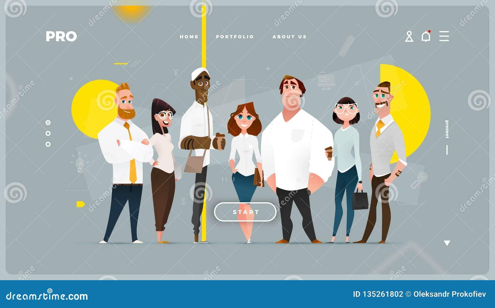 与动画片企业字符的主要抽象网页