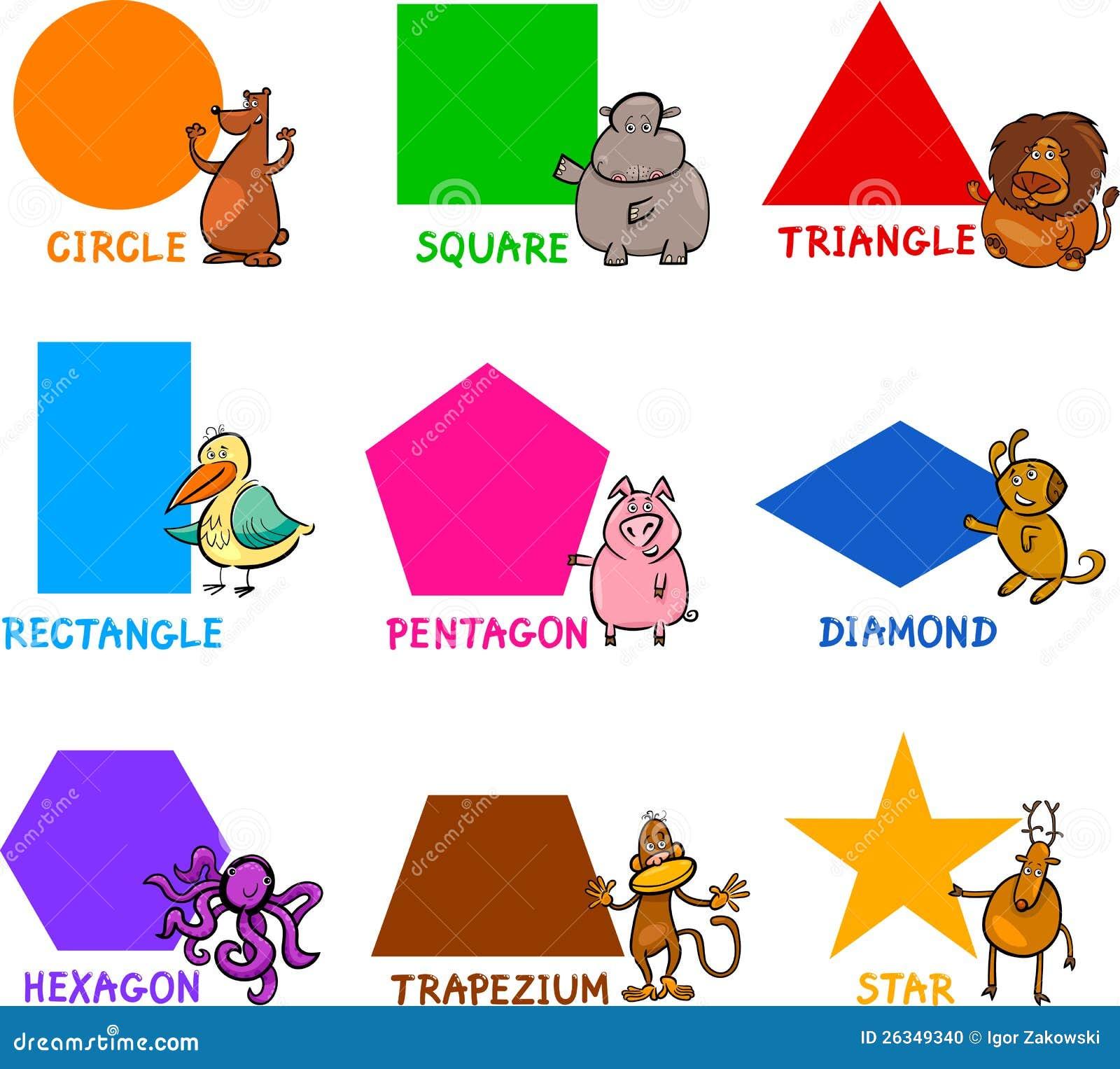 与动画片动物的基本的几何形状