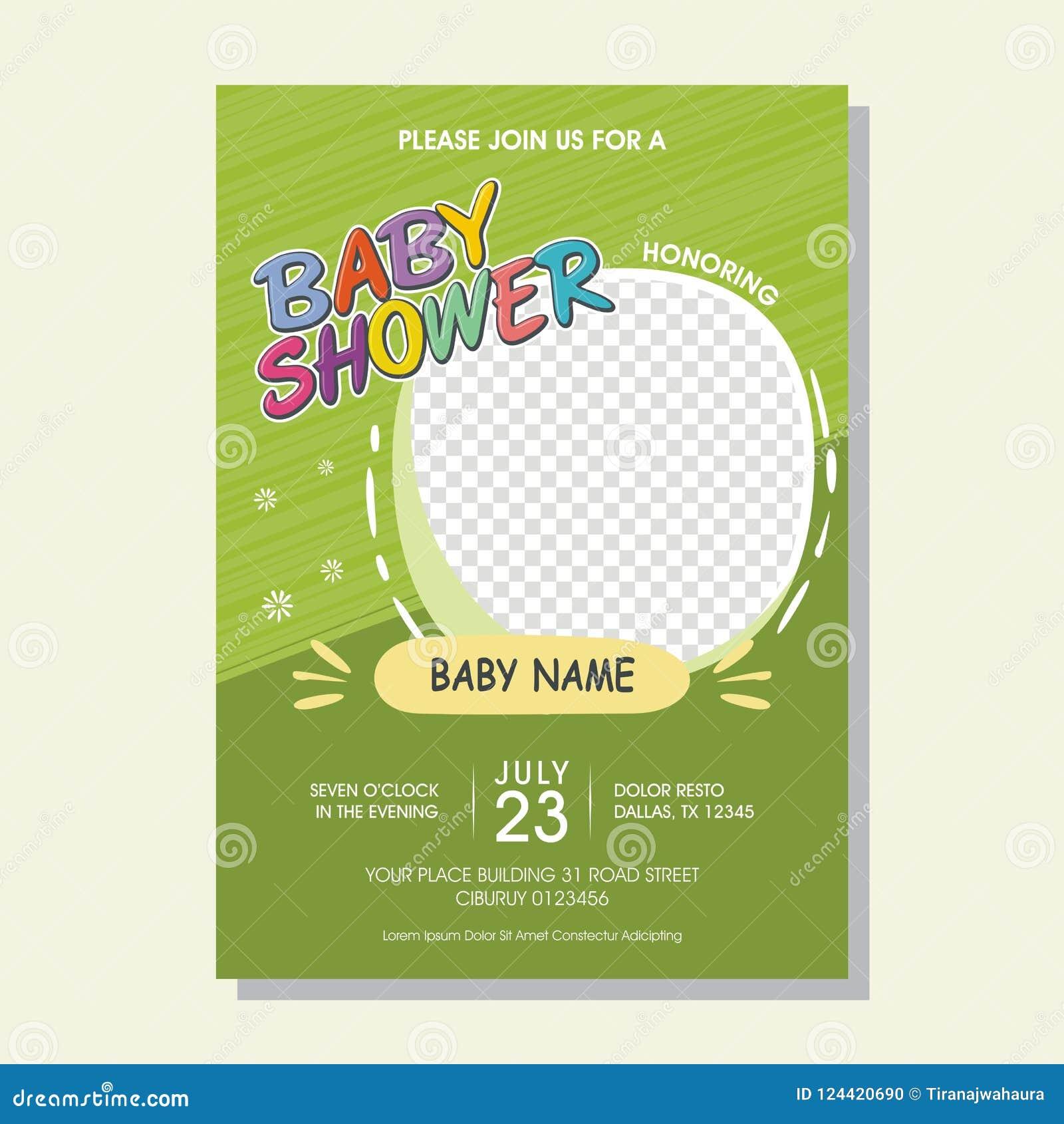 与动画片样式的可爱的婴儿送礼会邀请卡片