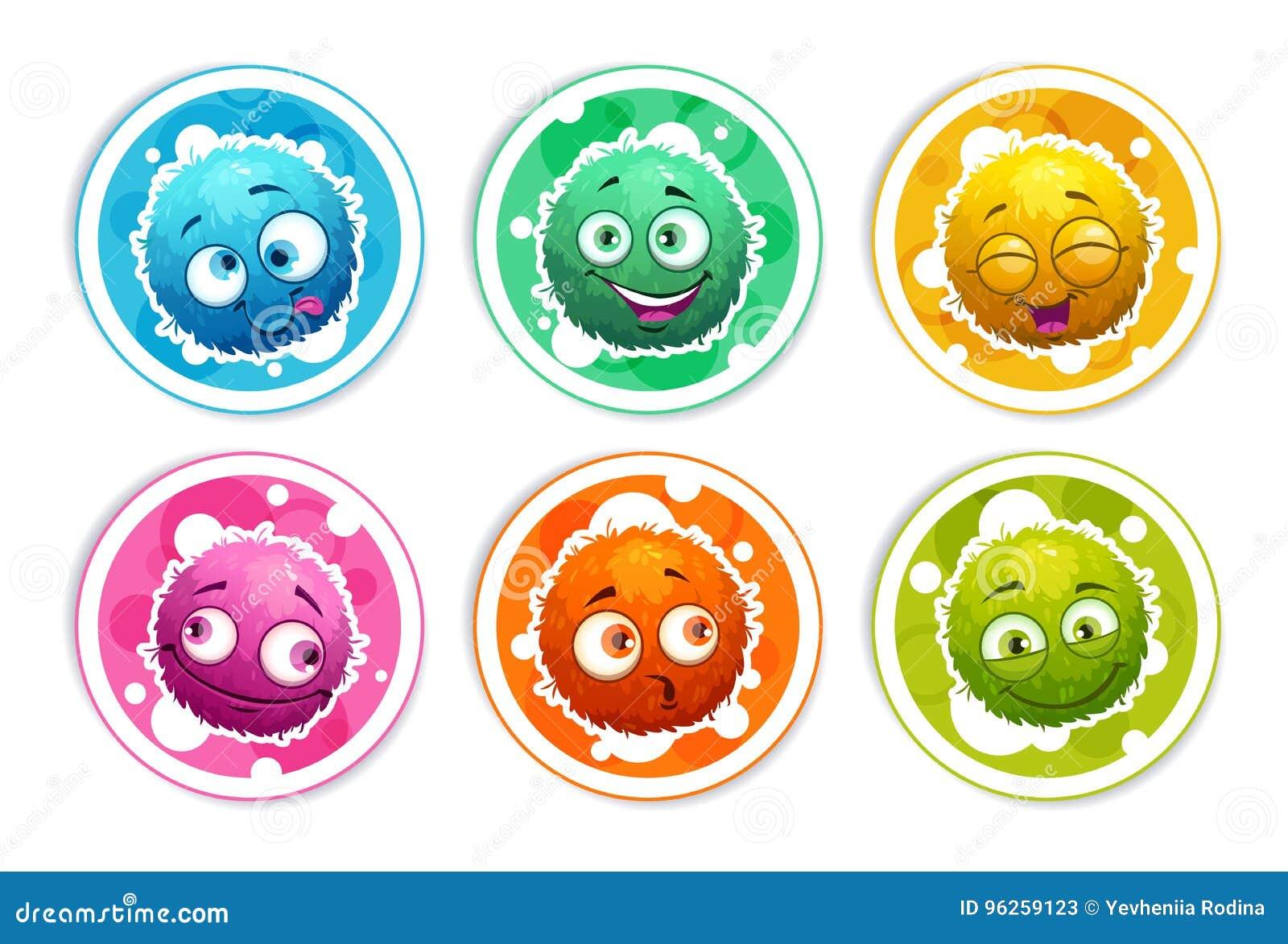 与动画片蓬松妖怪的滑稽的明亮的圆的贴纸