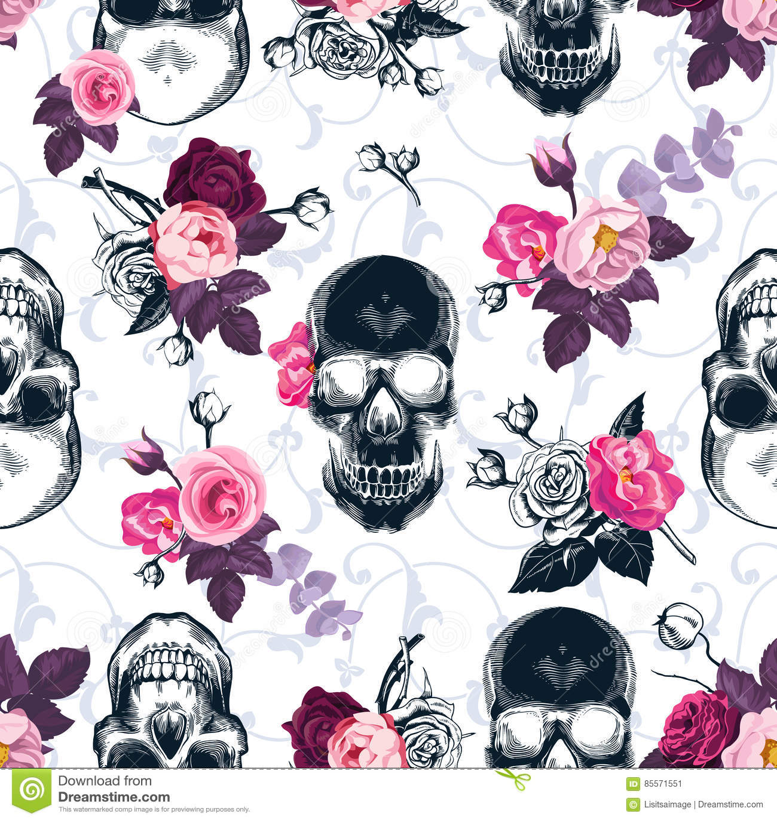 与单色人的头骨的花卉无缝的样式
