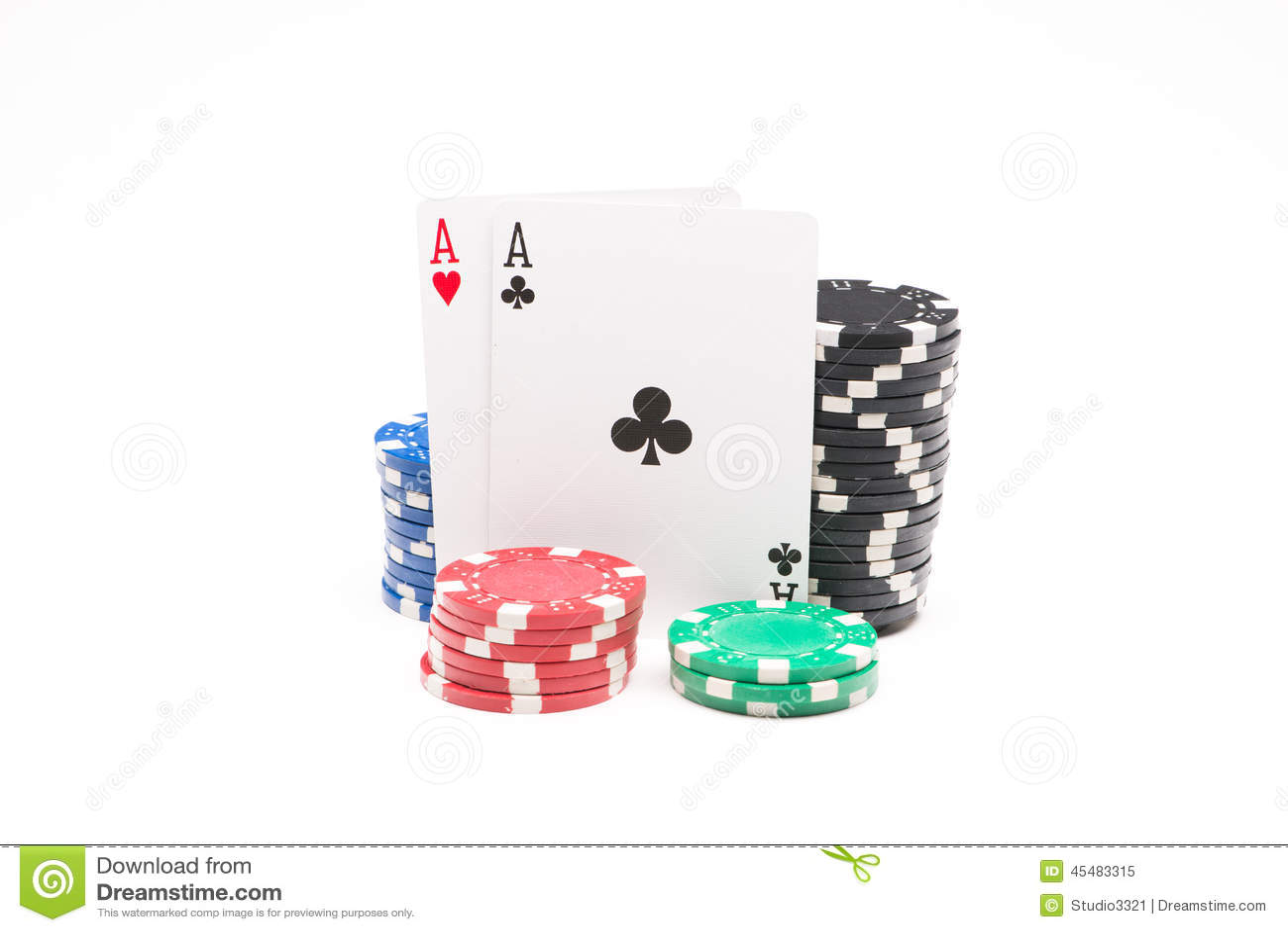 与卡片的纸牌筹码