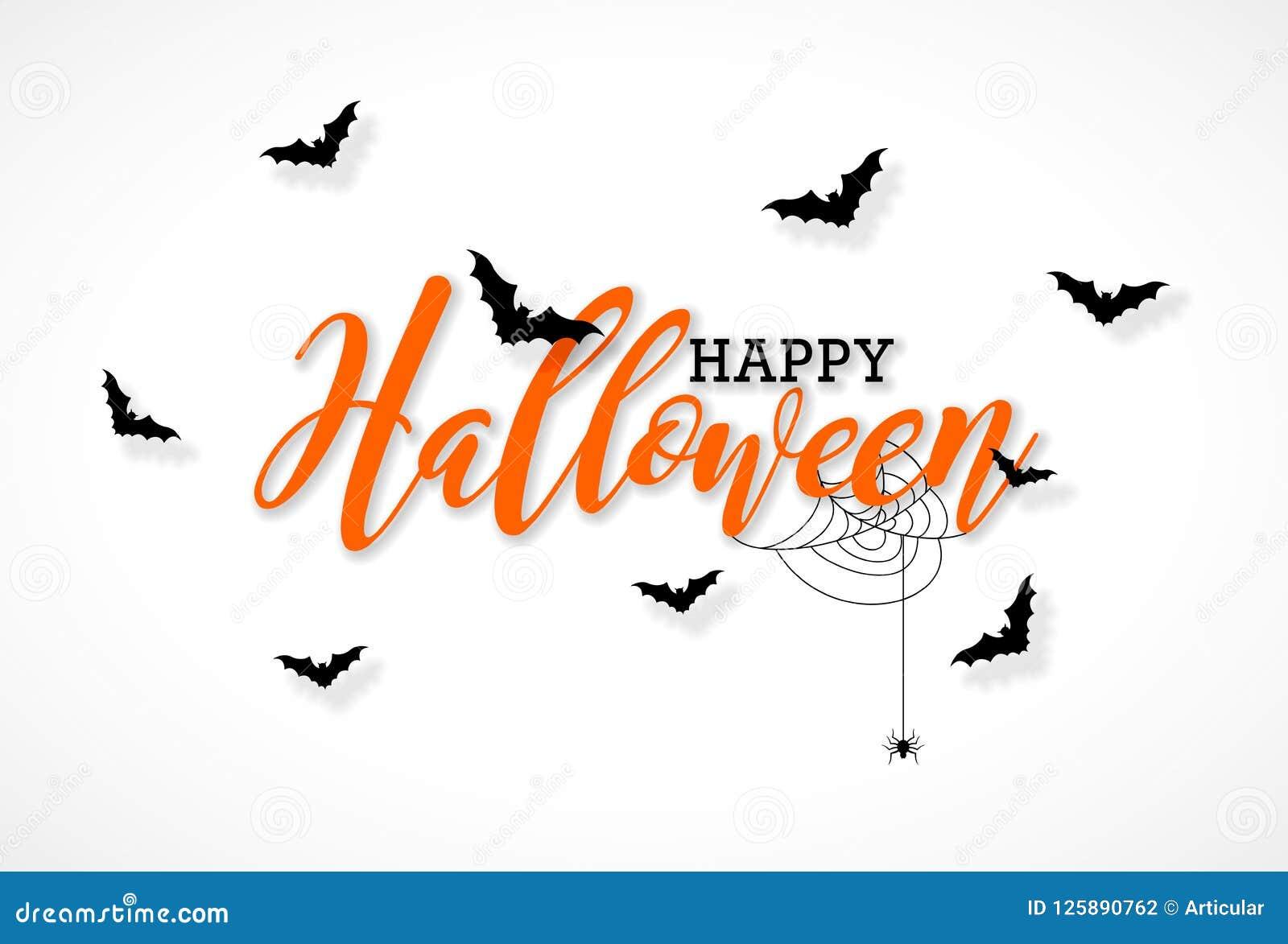 与印刷术字法、飞行棒和蜘蛛的愉快的万圣夜传染媒介例证在白色背景 节假日