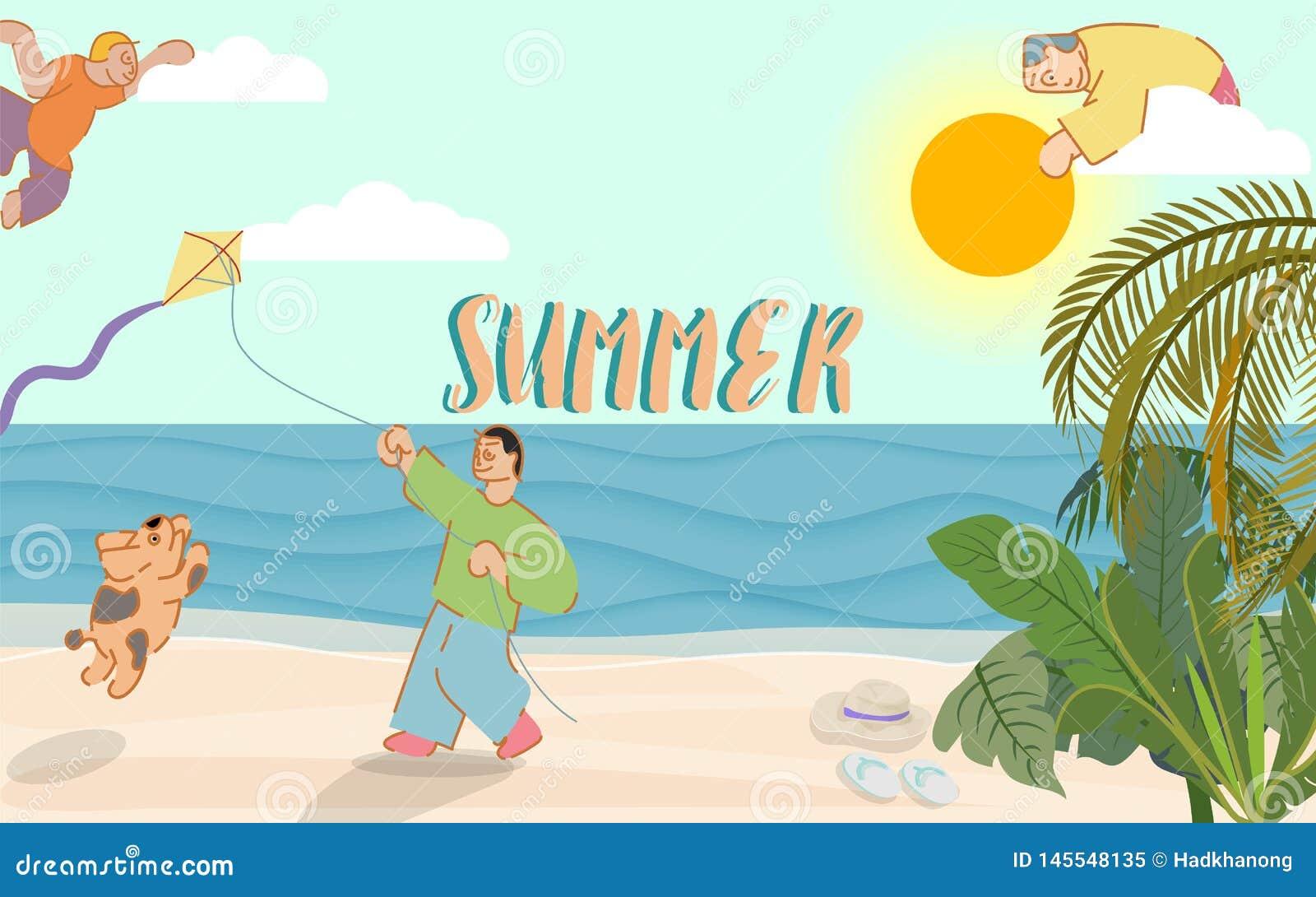 与印刷的夏时横幅在天空和一个人有播放一只风筝在海滩的狗的