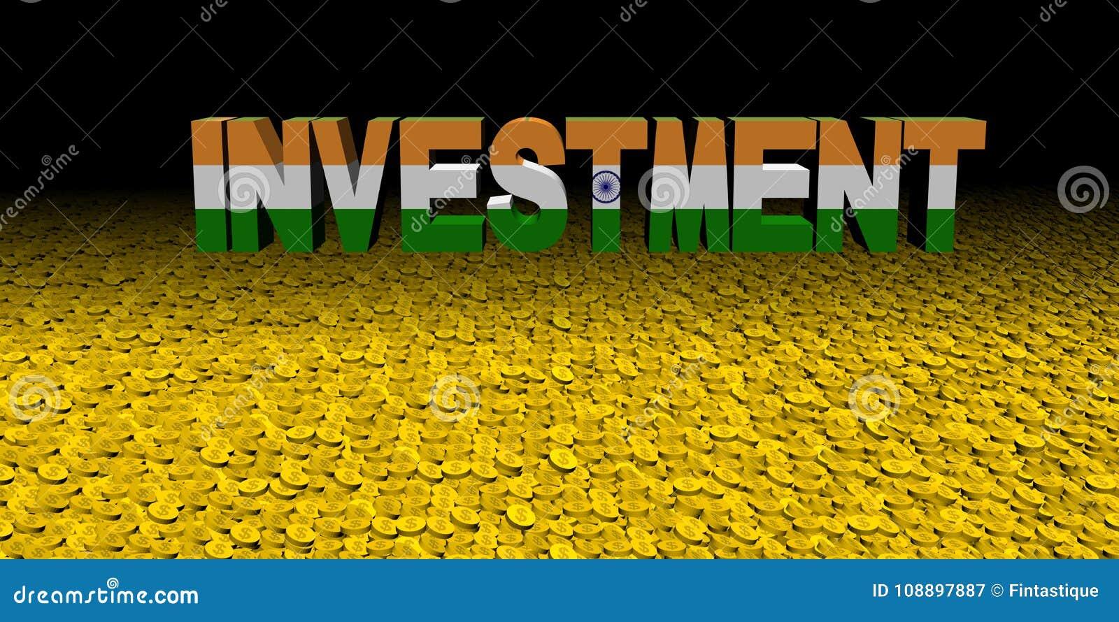 与印地安旗子的投资文本在硬币例证