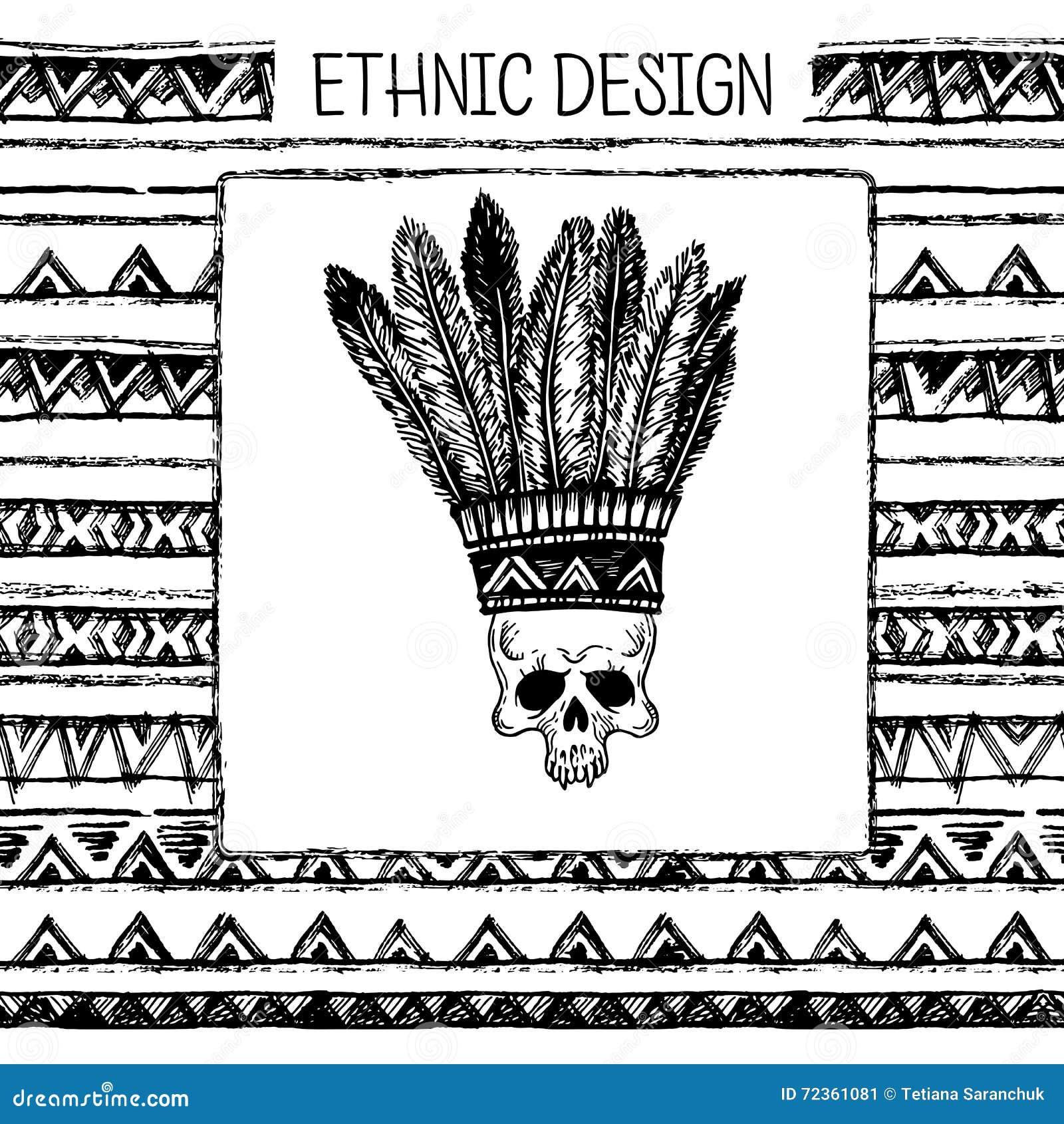 与印地安头饰和头骨的手拉的被绘的无缝的样式 黑白颜色