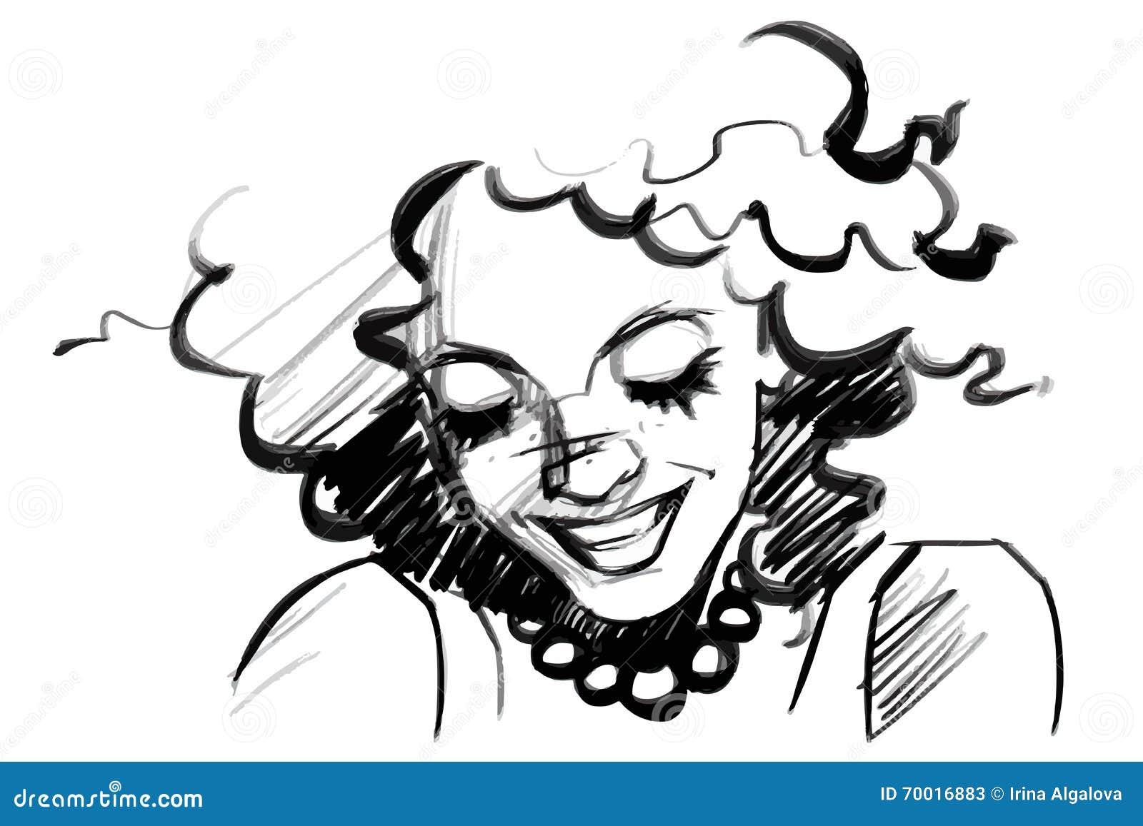 与卷发的美丽的微笑的妇女面孔 在白色的被隔绝的铅笔剪影