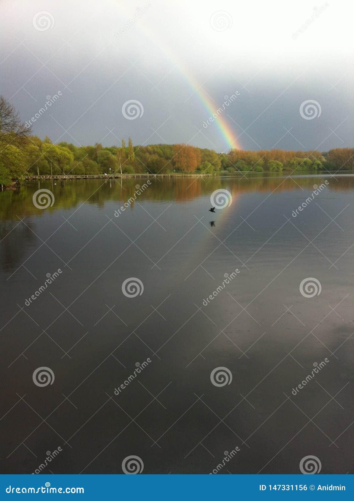 与反射的一条彩虹在湖Umminger,德国