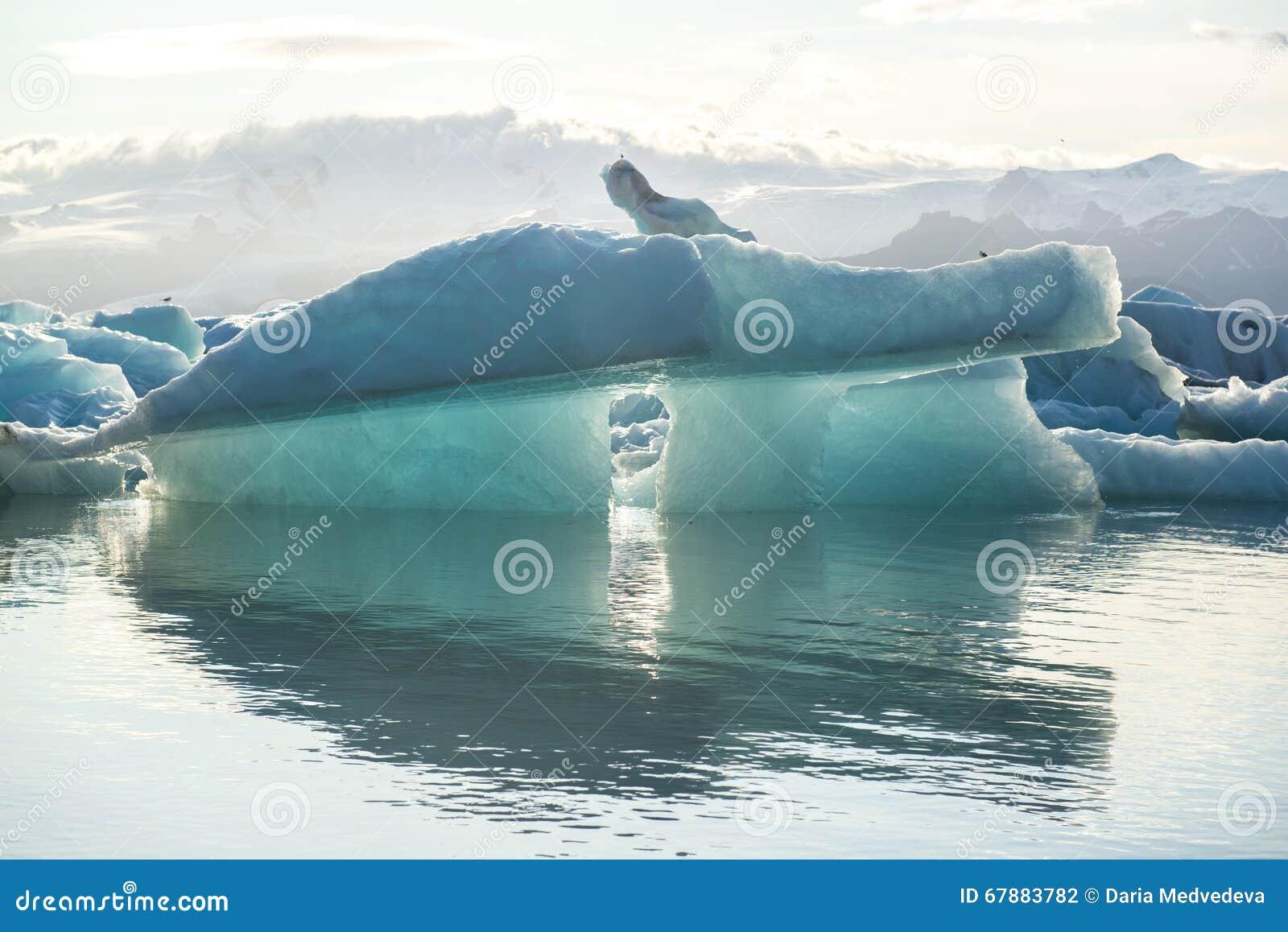 与反射的蓝色冰山在冰盐水湖Jokulsarlon,冰岛
