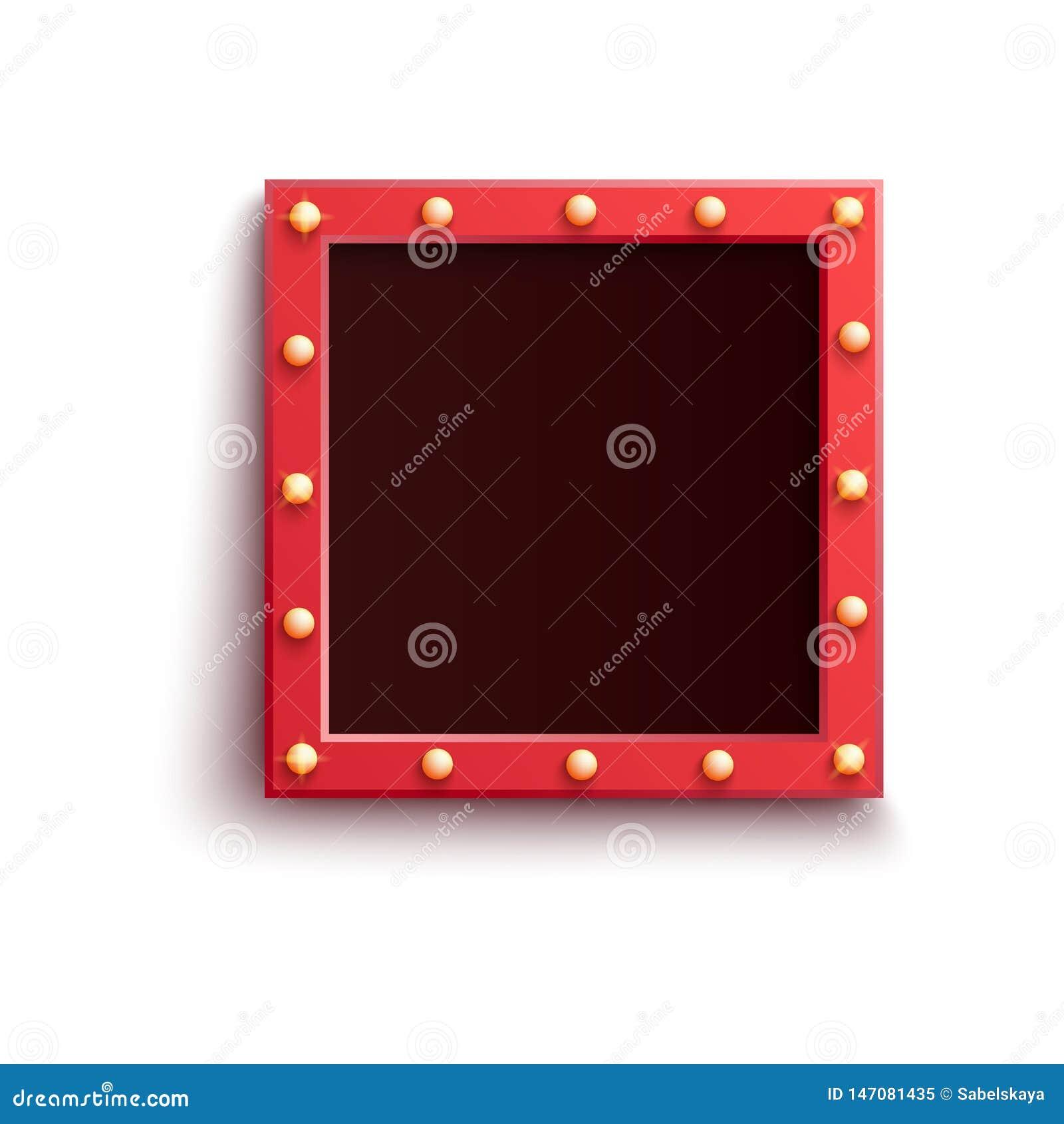 与发光电灯泡和拷贝空间的减速火箭的红场框架在现实样式