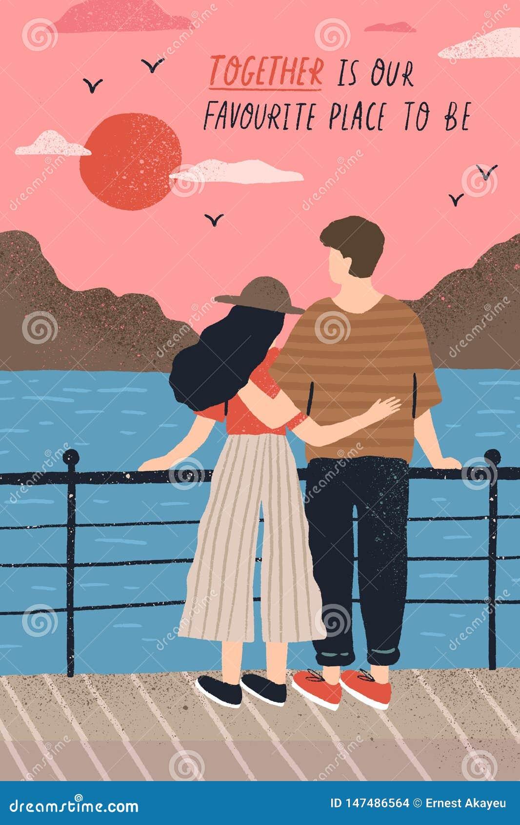 与可爱的夫妇的明信片模板在站立在堤防和观看的日落和浪漫行情的爱 年轻人