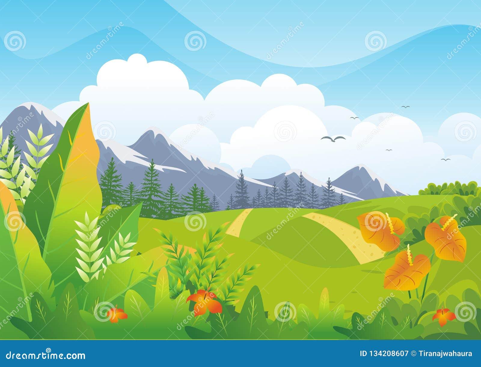 与可爱的风景设计的自然热带背景