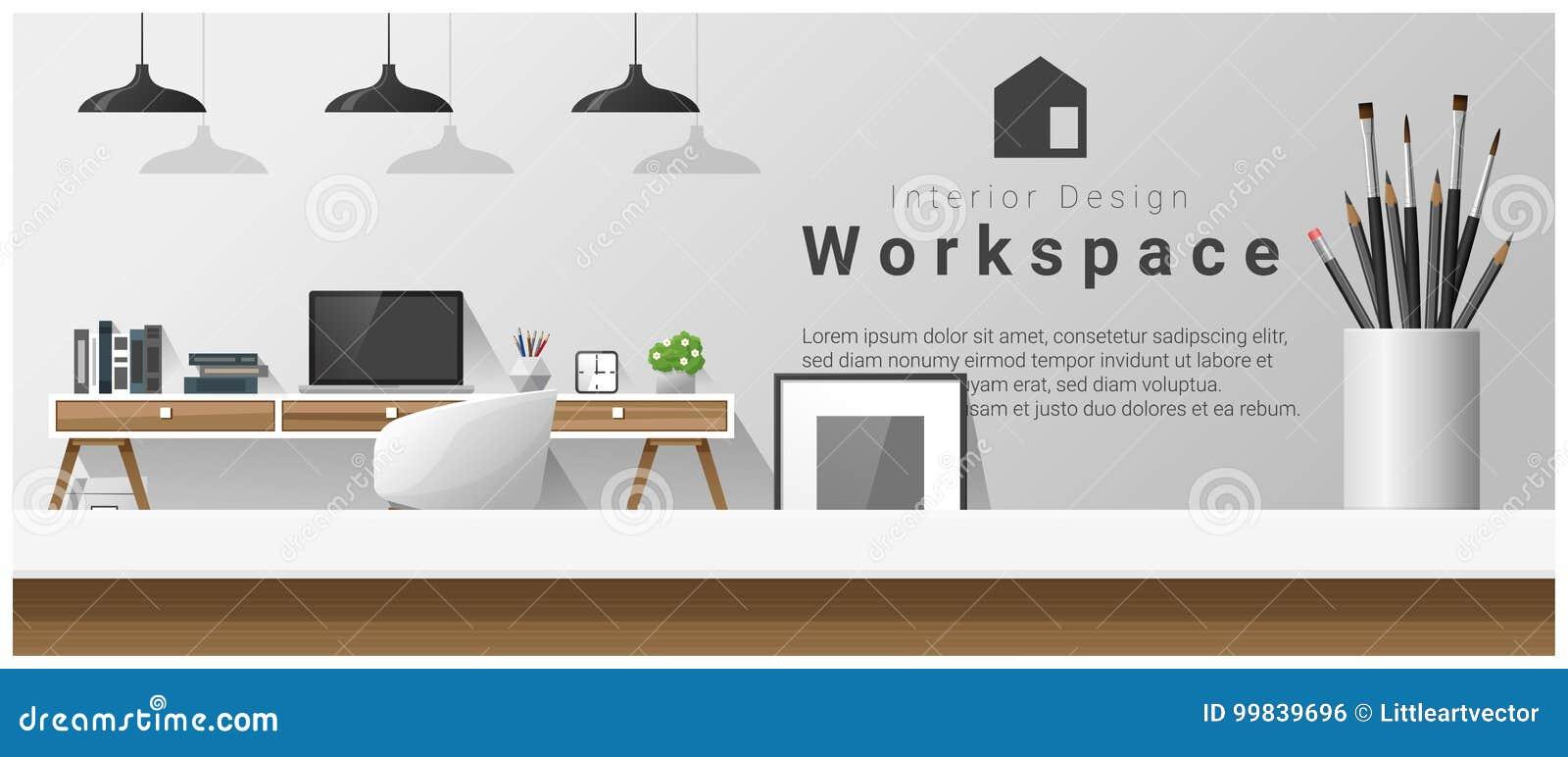与台式和现代办公室工作场所背景的室内设计