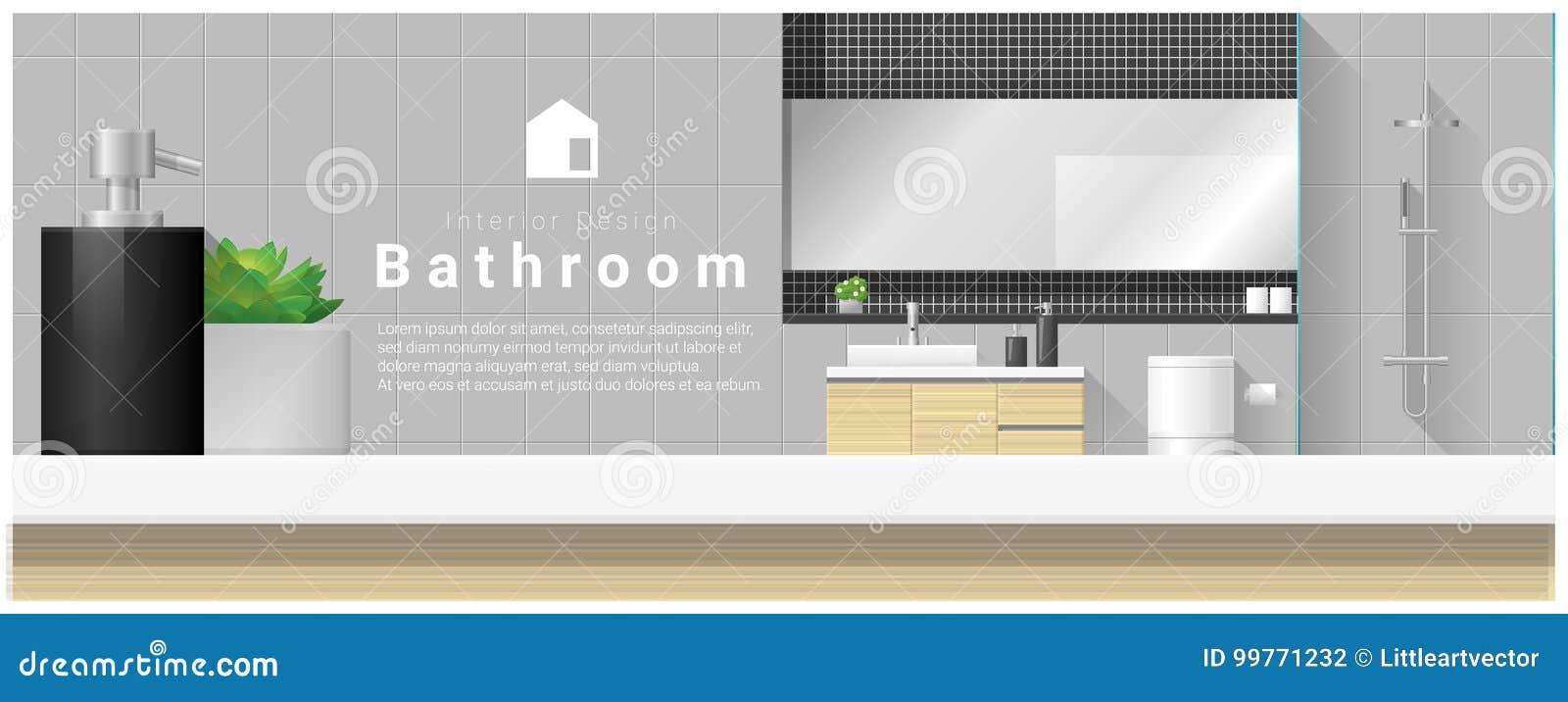 与台式和现代卫生间背景的室内设计
