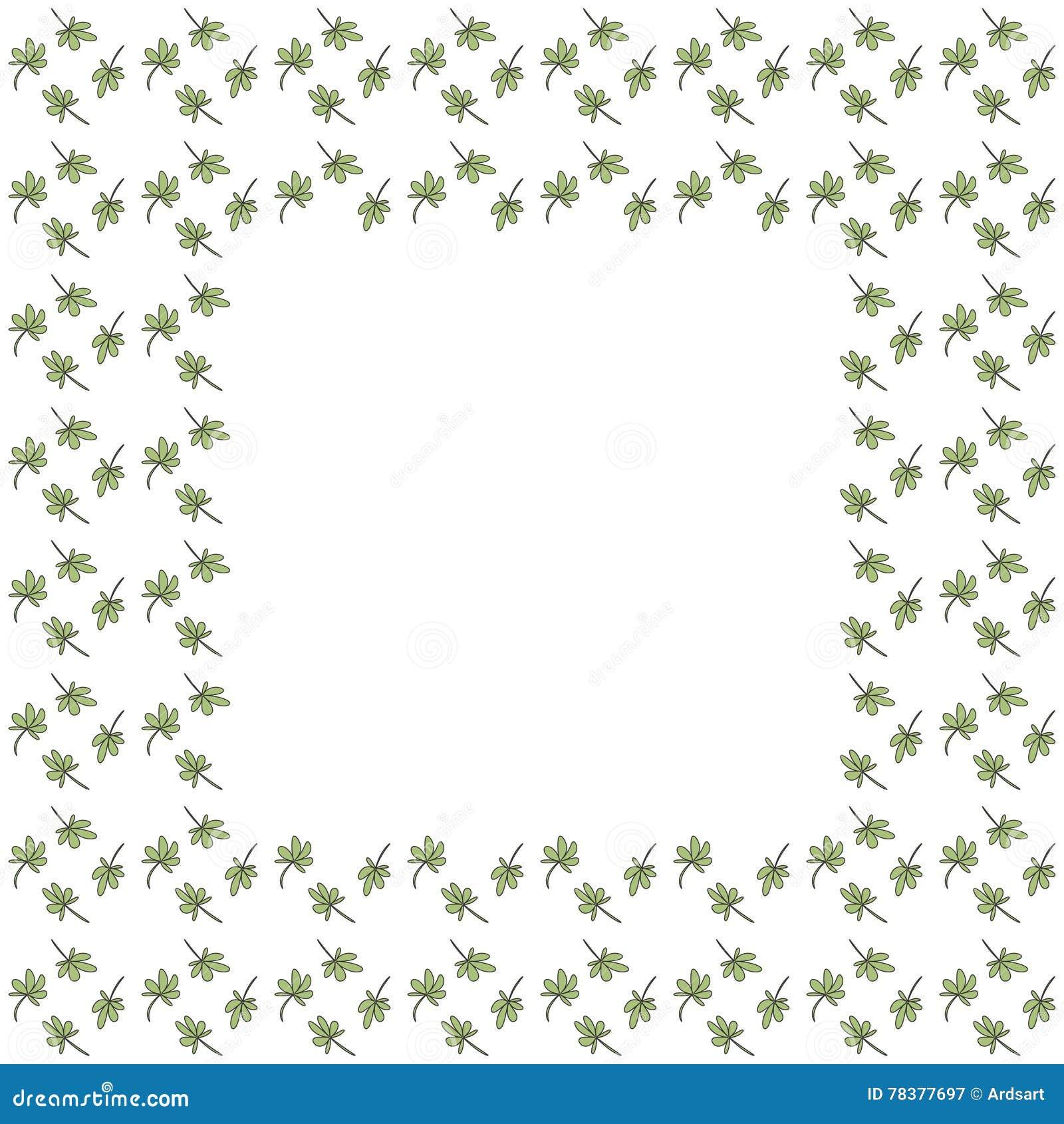与叶子栅格的逗人喜爱的背景边界框架