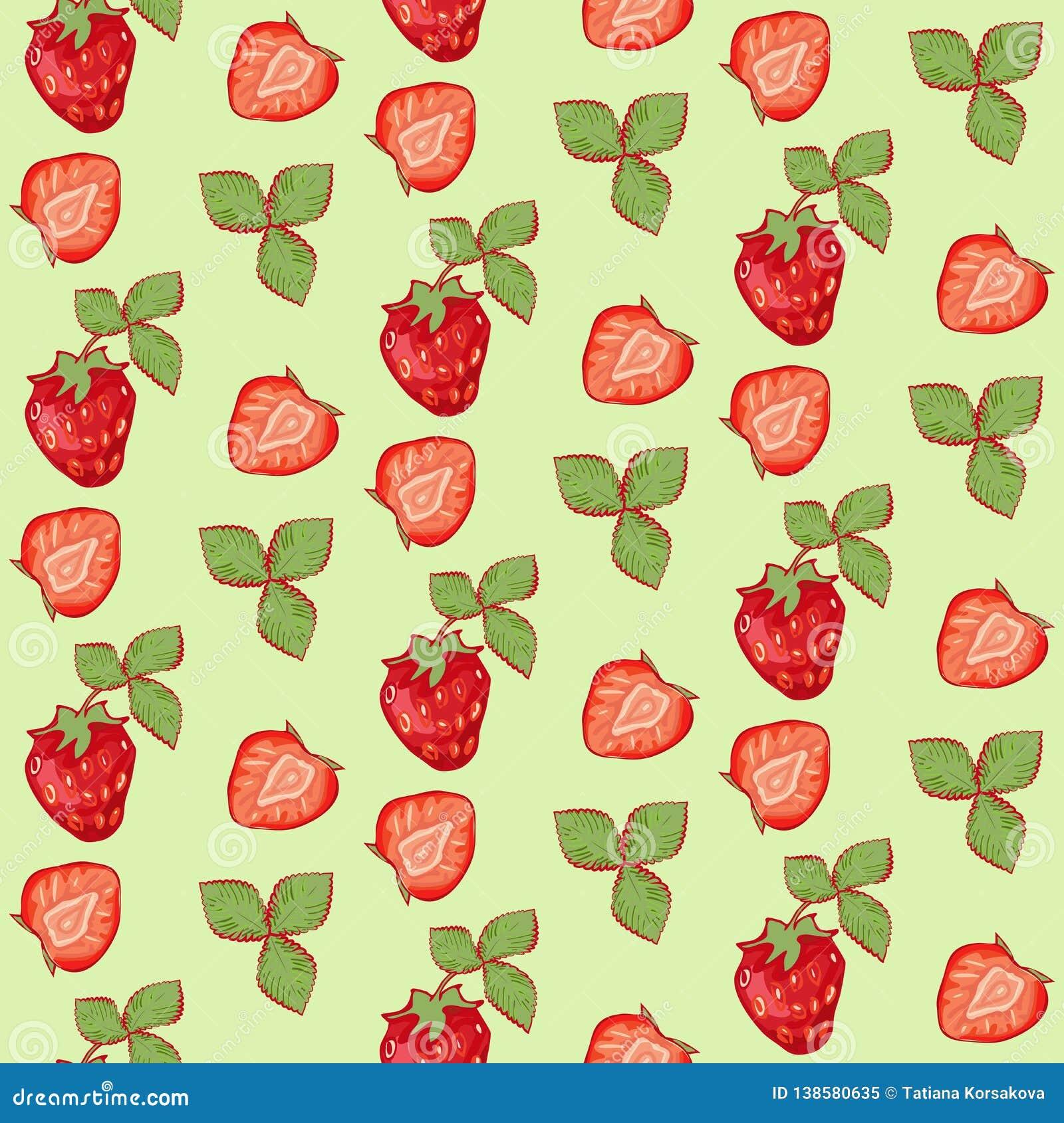 与叶子的无缝的样式夏天草莓在绿色背景