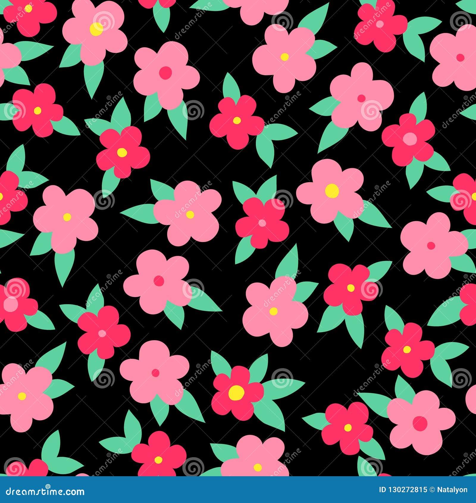 与叶子的简单的五颜六色的花在黑,无缝的样式,传染媒介