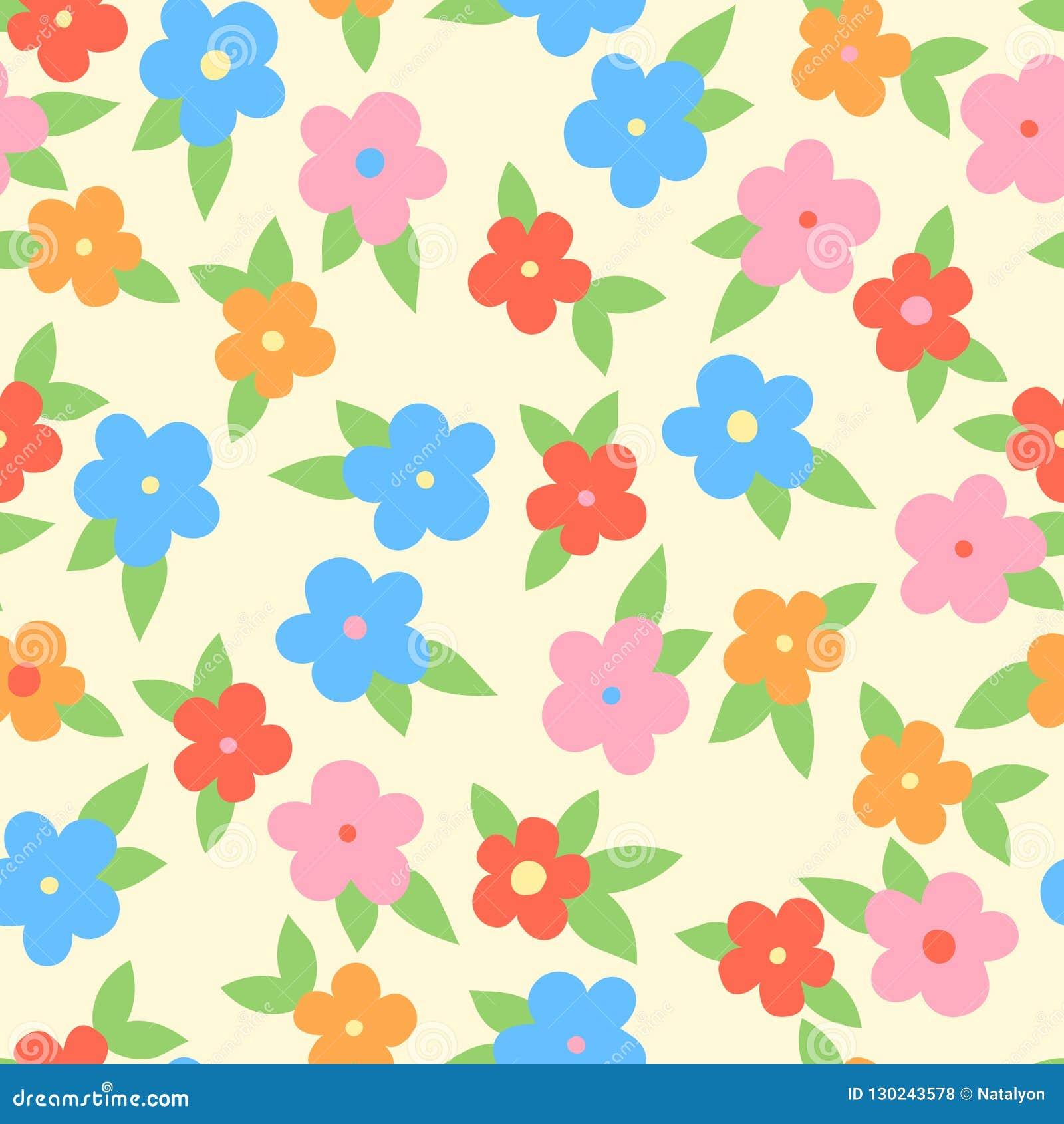 与叶子,无缝的样式,传染媒介的简单的五颜六色的花