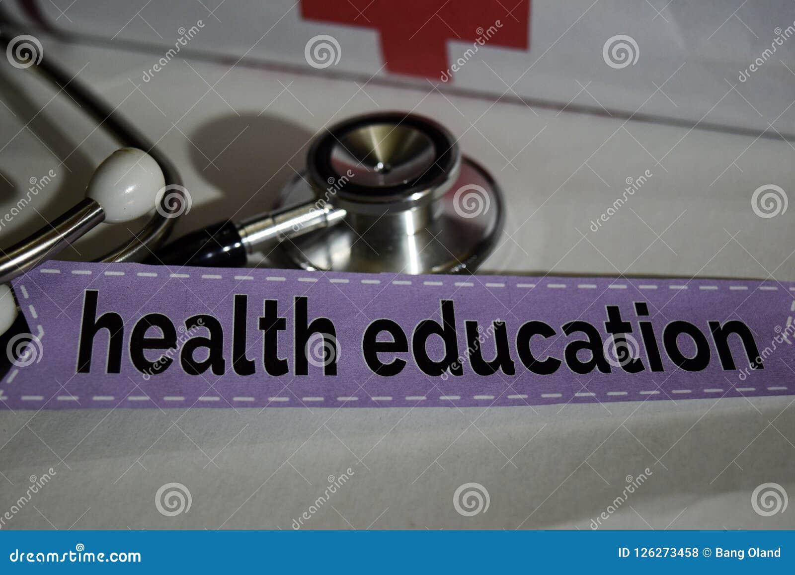 与听诊器的卫生教育消息,医疗保健概念