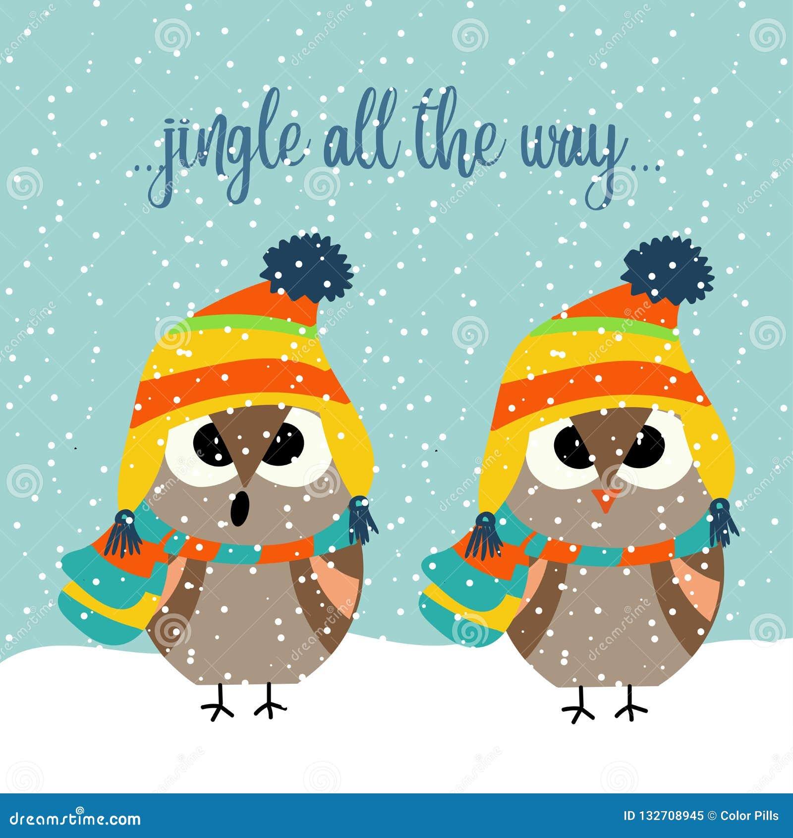 与唱颂歌的猫头鹰的逗人喜爱的圣诞卡片