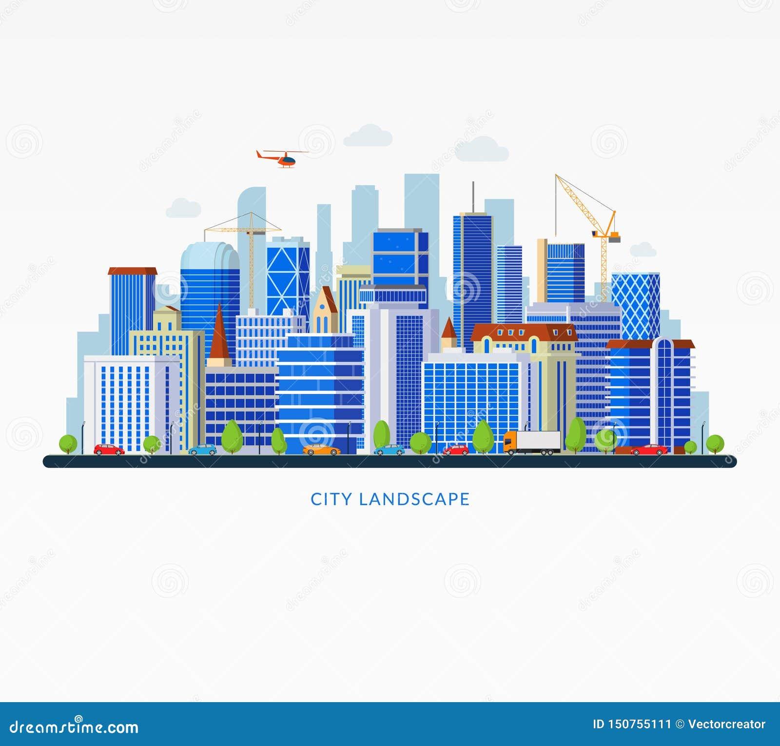 与商业中心,天空刮板,大厦,公路交通的城市风景 :