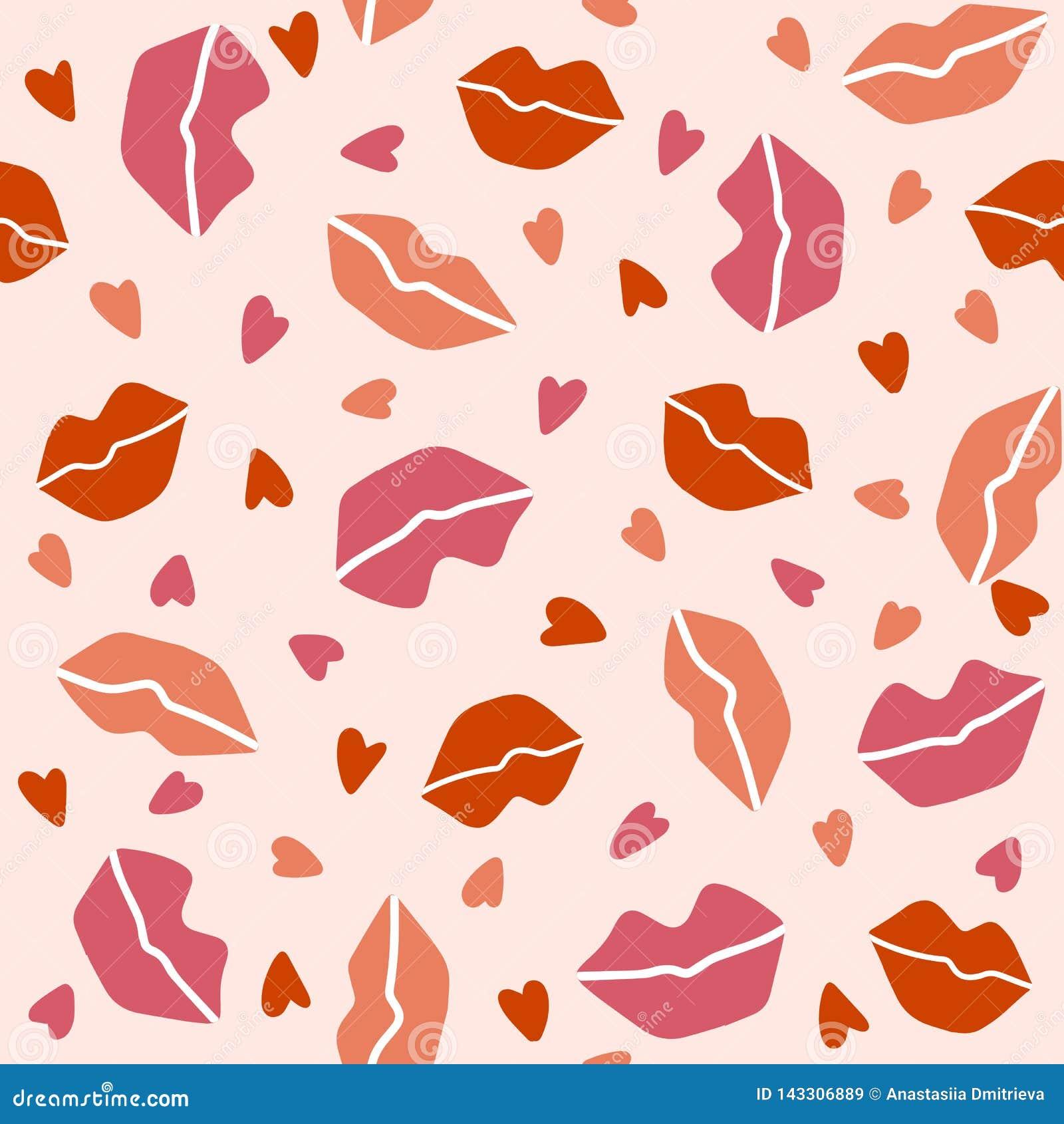 与嘴唇和心脏的无缝的样式在浅粉红色的背景