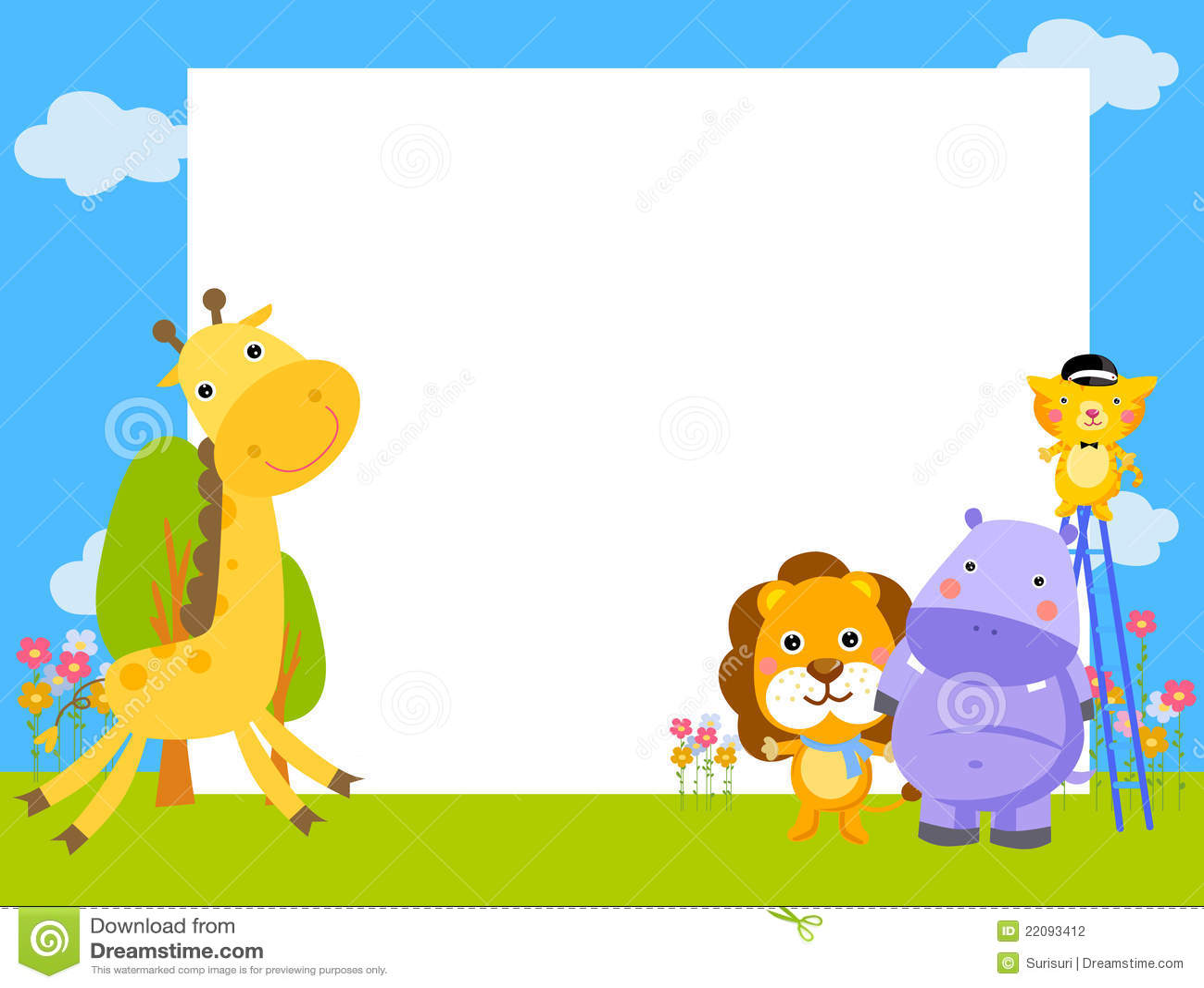 与四个动物的框架 图库摄影 - 图片: 22093412