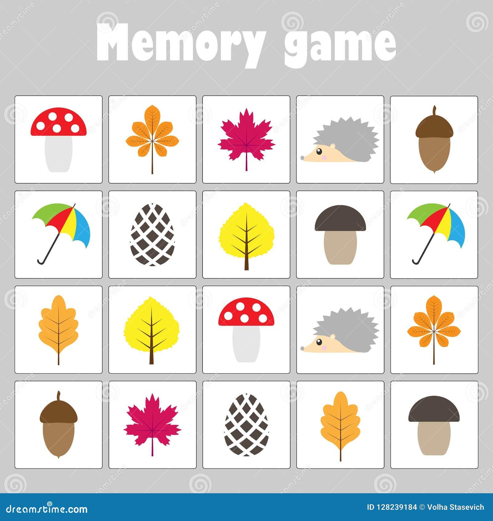 与图片秋天题材的记忆比赛孩子的,乐趣孩子的教育比赛,学龄前活动,发展的o任务