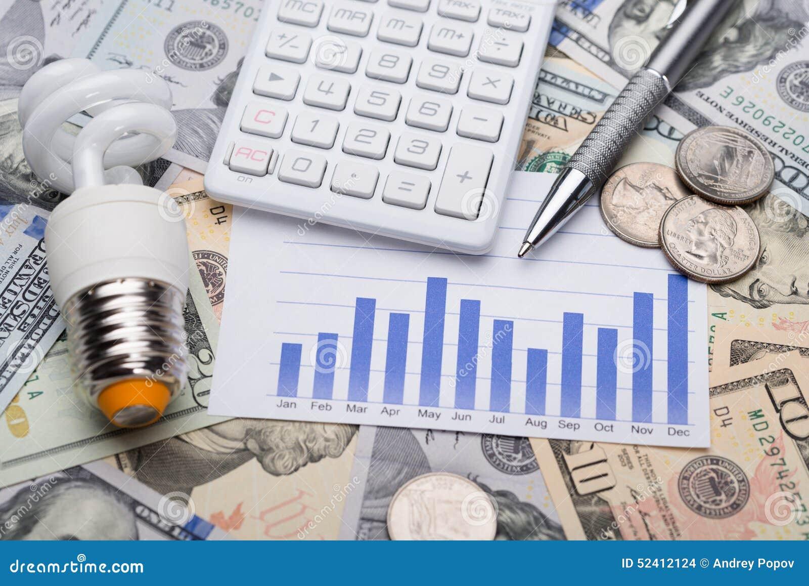 与图表的在美金的电灯泡和计算器
