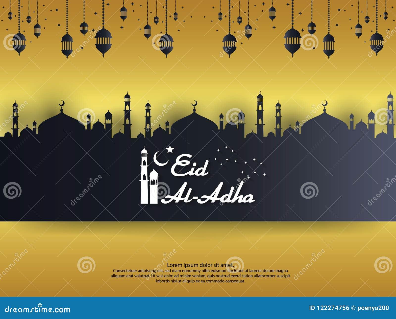 与圆顶清真寺的Eid Al Adha穆巴拉克伊斯兰教的贺卡设计和在纸的垂悬的灯笼元素削减了样式 背景Vecto