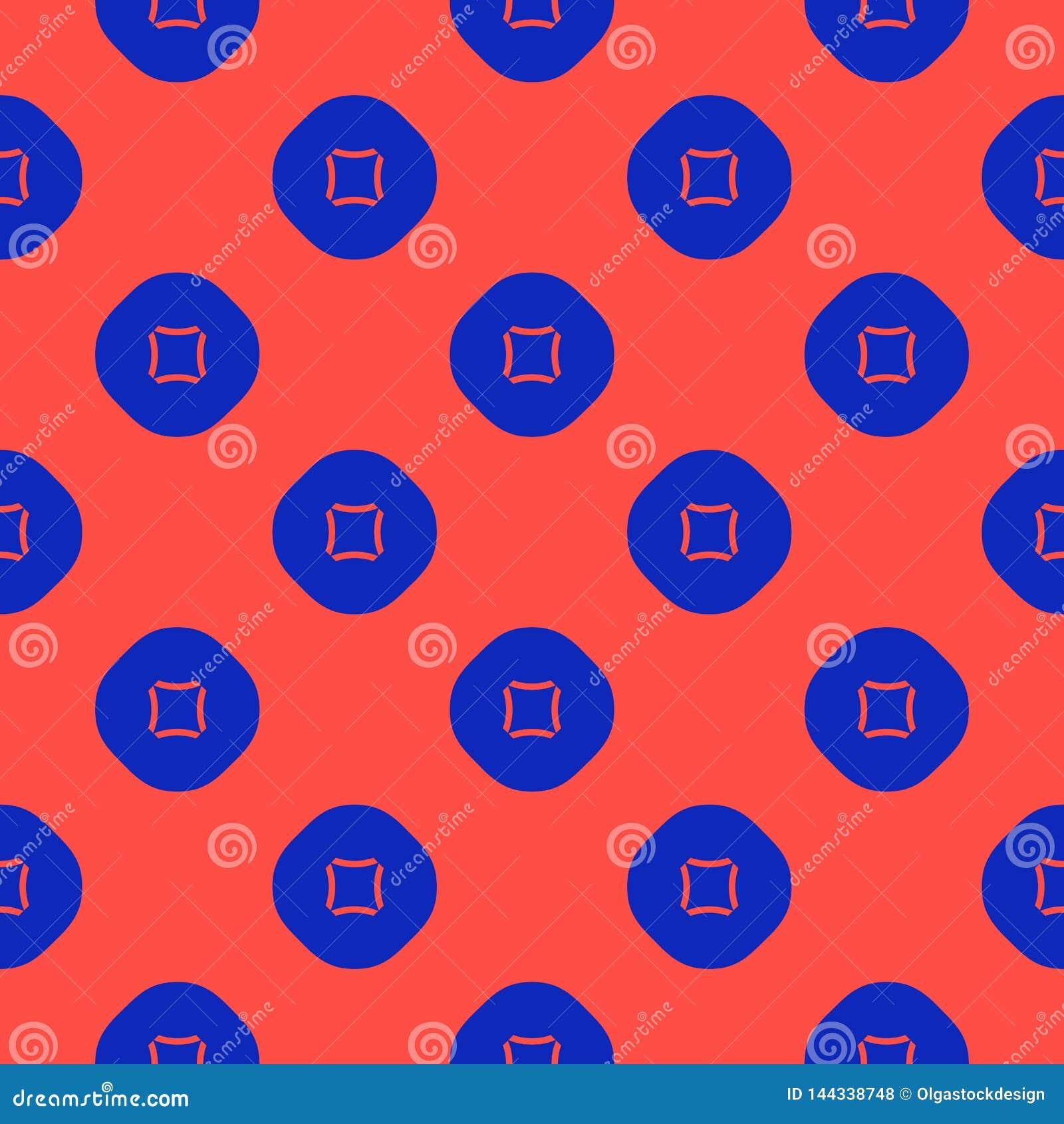 与圈子,正方形的传染媒介最低纲领派几何无缝的样式 蓝色红色