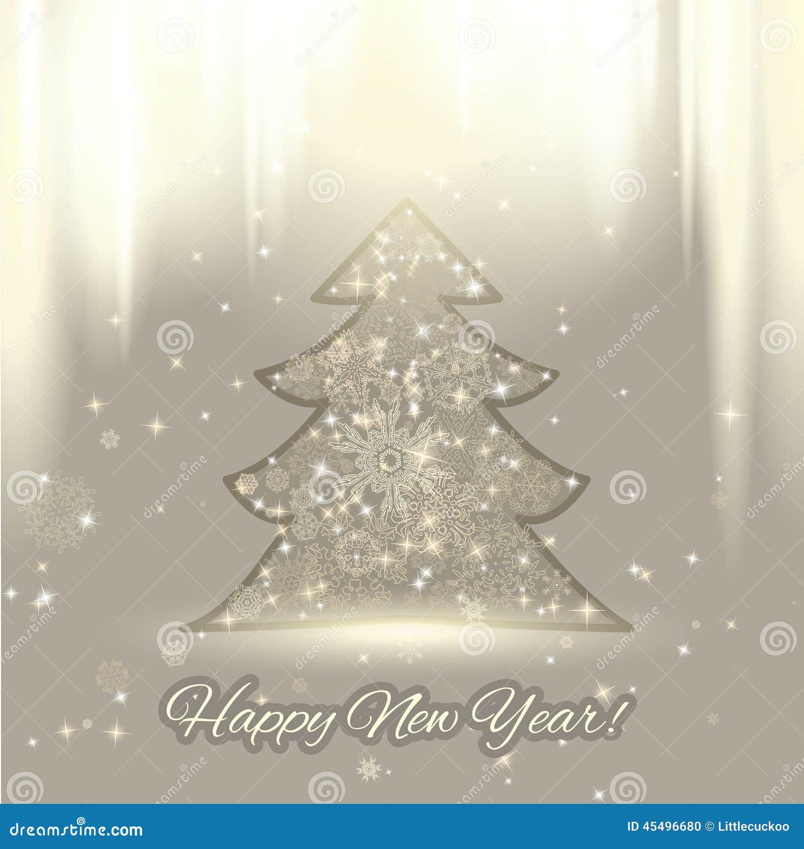 与圣诞树和雪花的新年背景