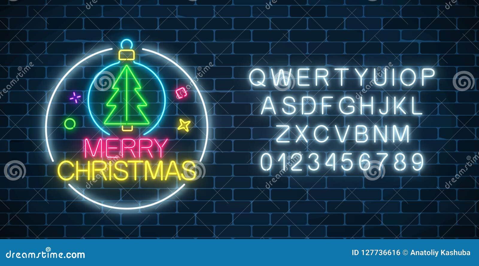 与圣诞树的发光的霓虹灯广告在圣诞节球和字母表 圣诞节标志在霓虹样式的网横幅
