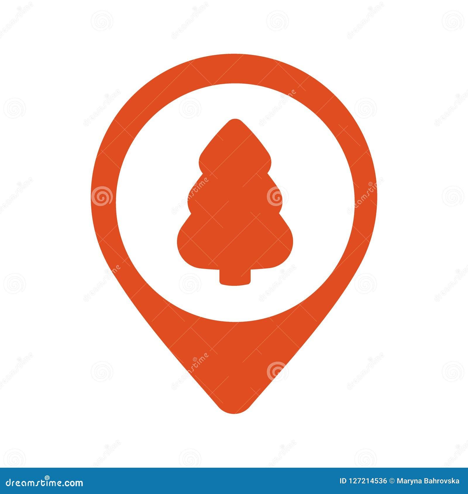 与圣诞树的尖象在白色背景,地图别针平的设计样式现代象,标志标志,航海