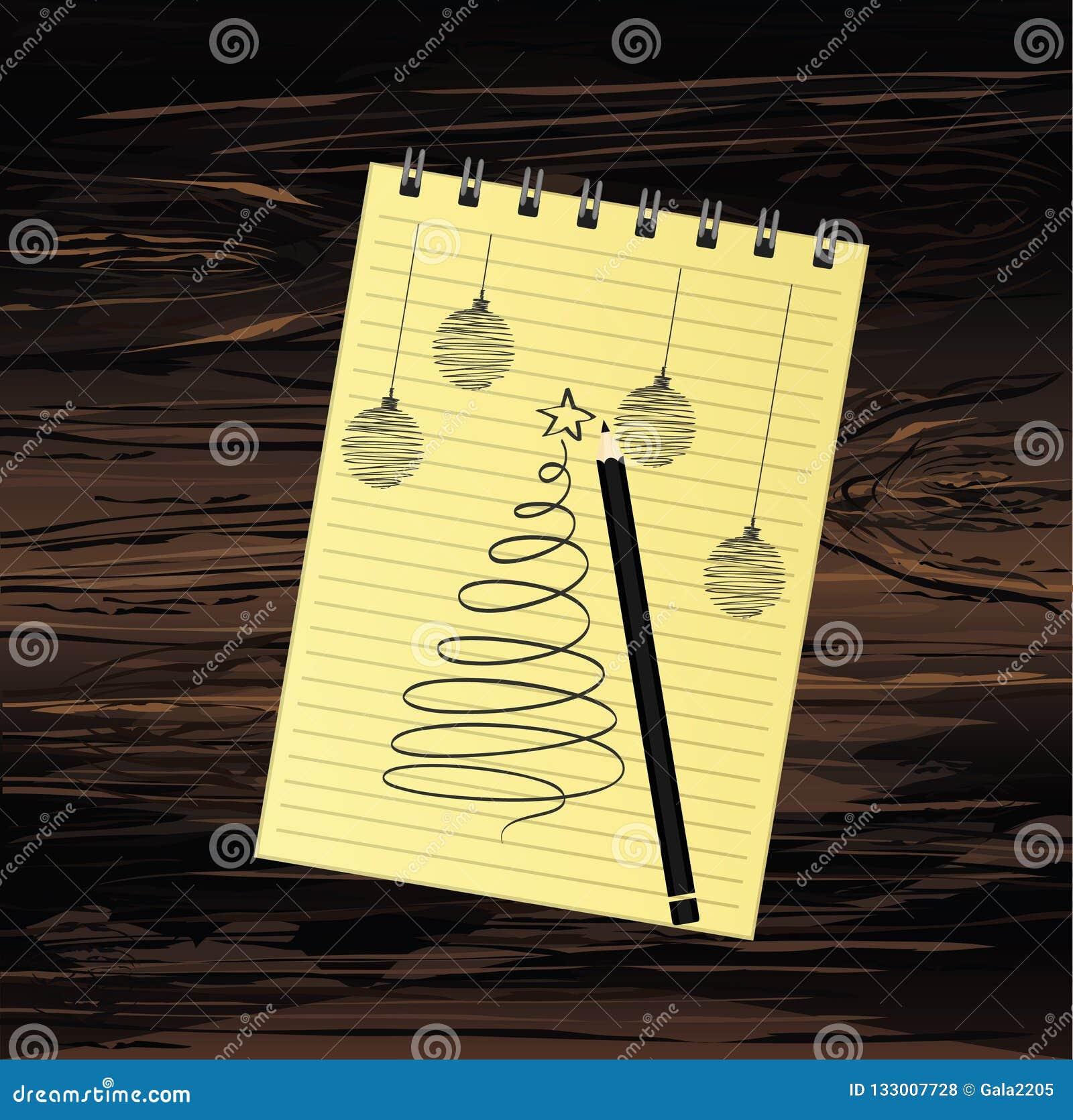 与圣诞树的现实被打开的笔记本模板和球和铅笔 在木背景的传染媒介 事务的日志