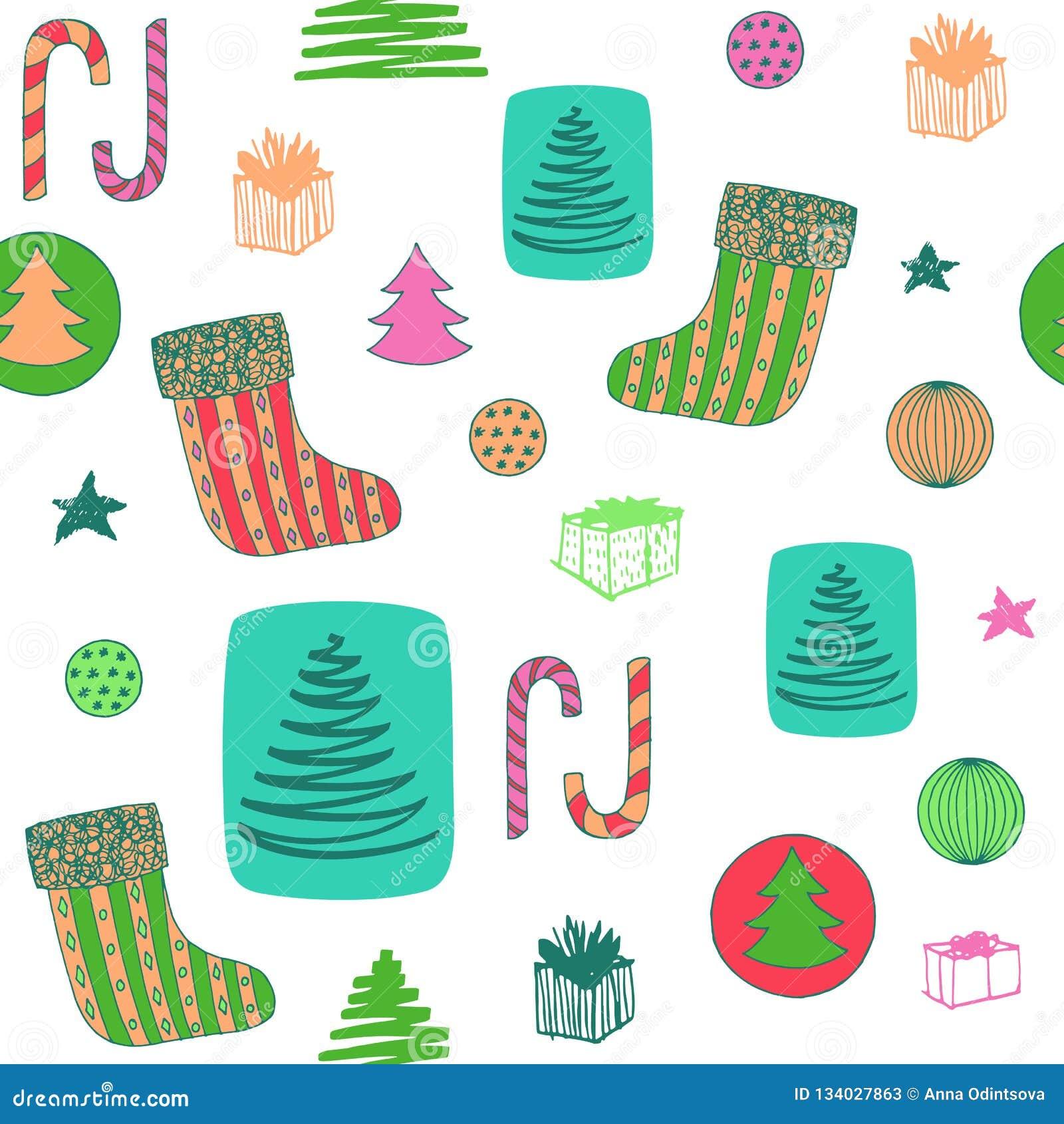 与圣诞节长袜,糖果,圣诞树,球ang礼物的新年五颜六色的无缝的样式 拉长的现有量向量