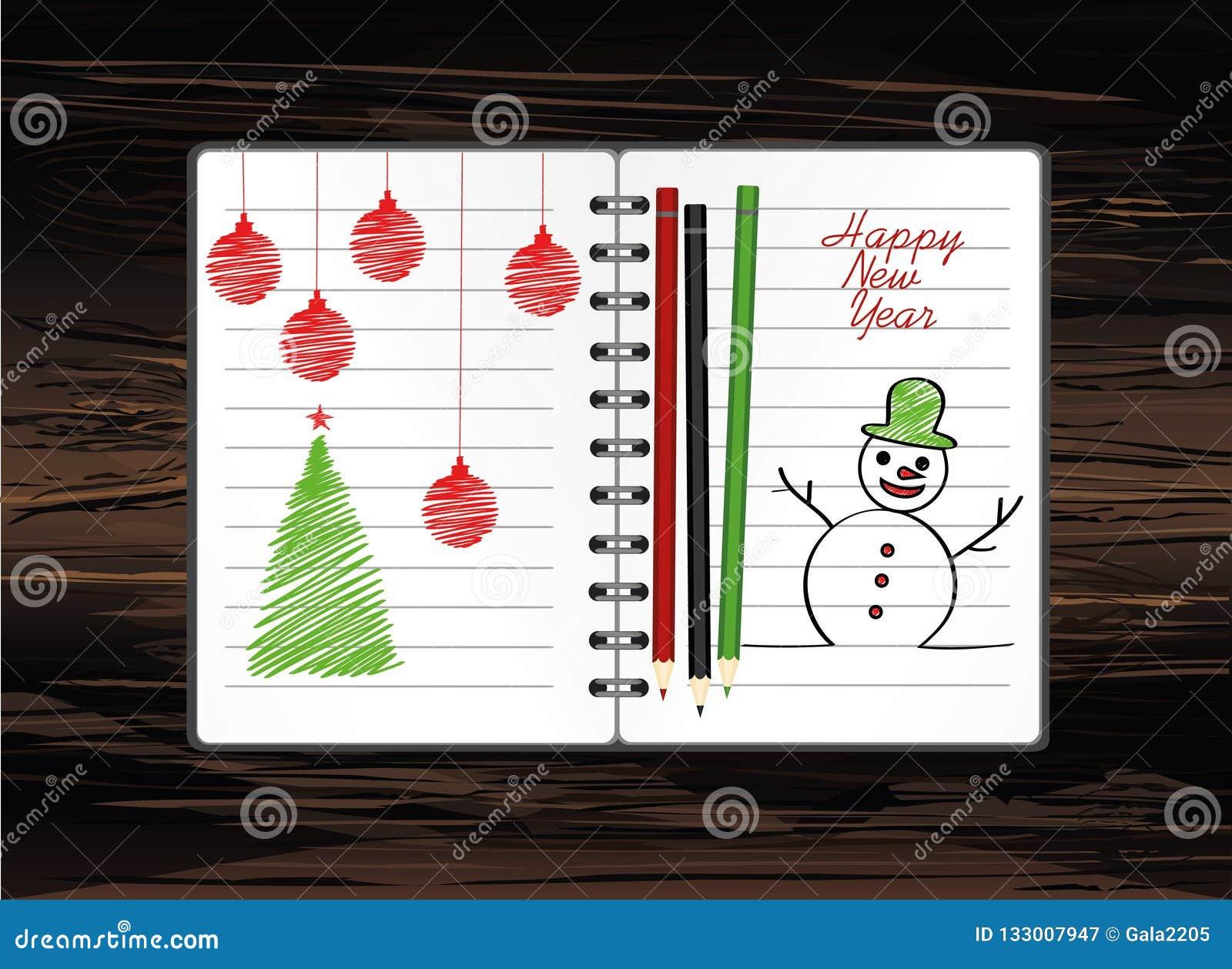 与圣诞节雪人的笔记本模板和球和铅笔 在木背景的传染媒介 贺卡在度假 一现实