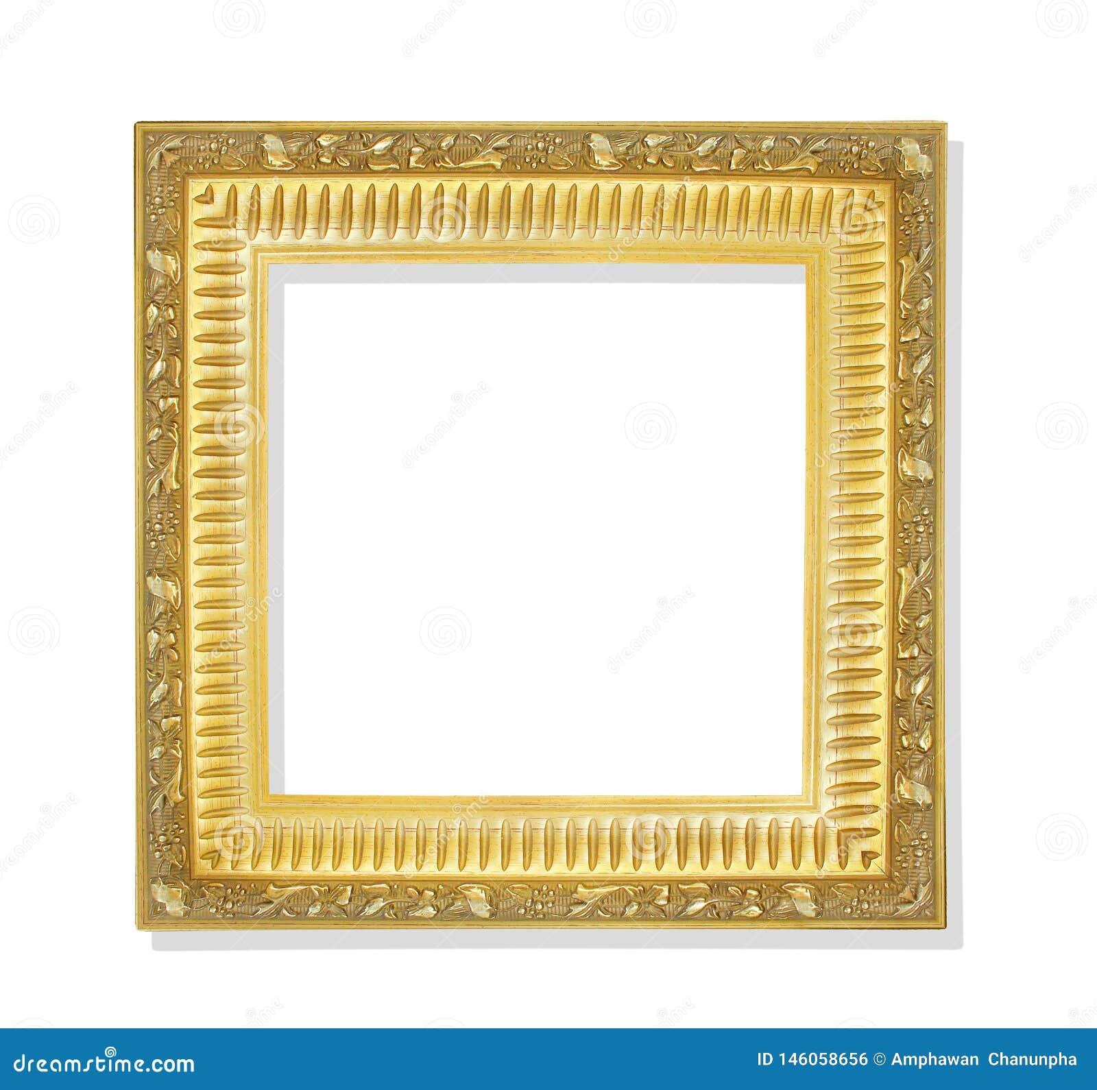 与在白色背景和裁减路线隔绝的花纹花样的老金黄框架
