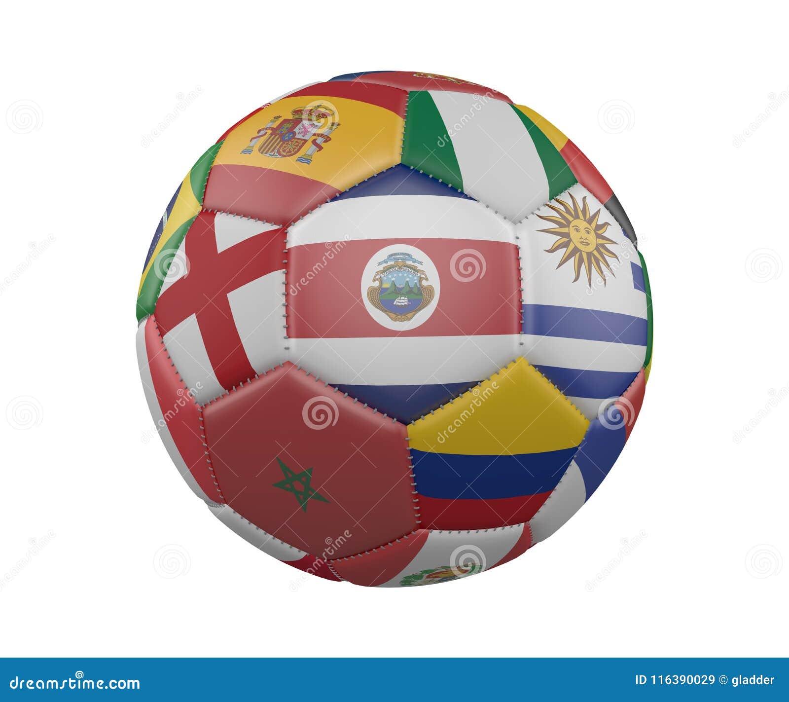 与在白色背景隔绝的旗子的足球,哥斯达黎加在中心, 3d翻译