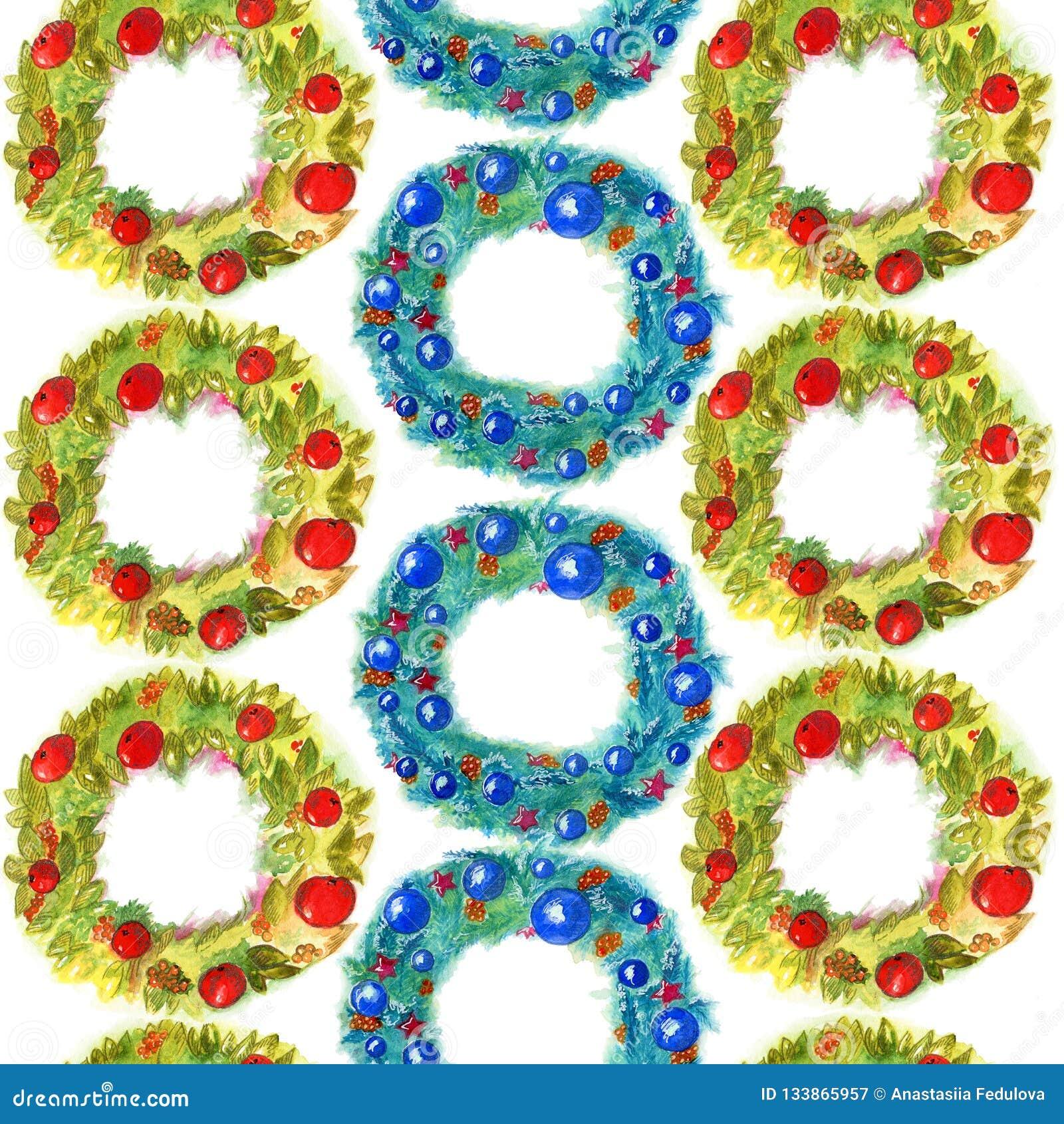 与在白色背景隔绝的装饰的水彩无缝的样式手拉的圣诞节花圈