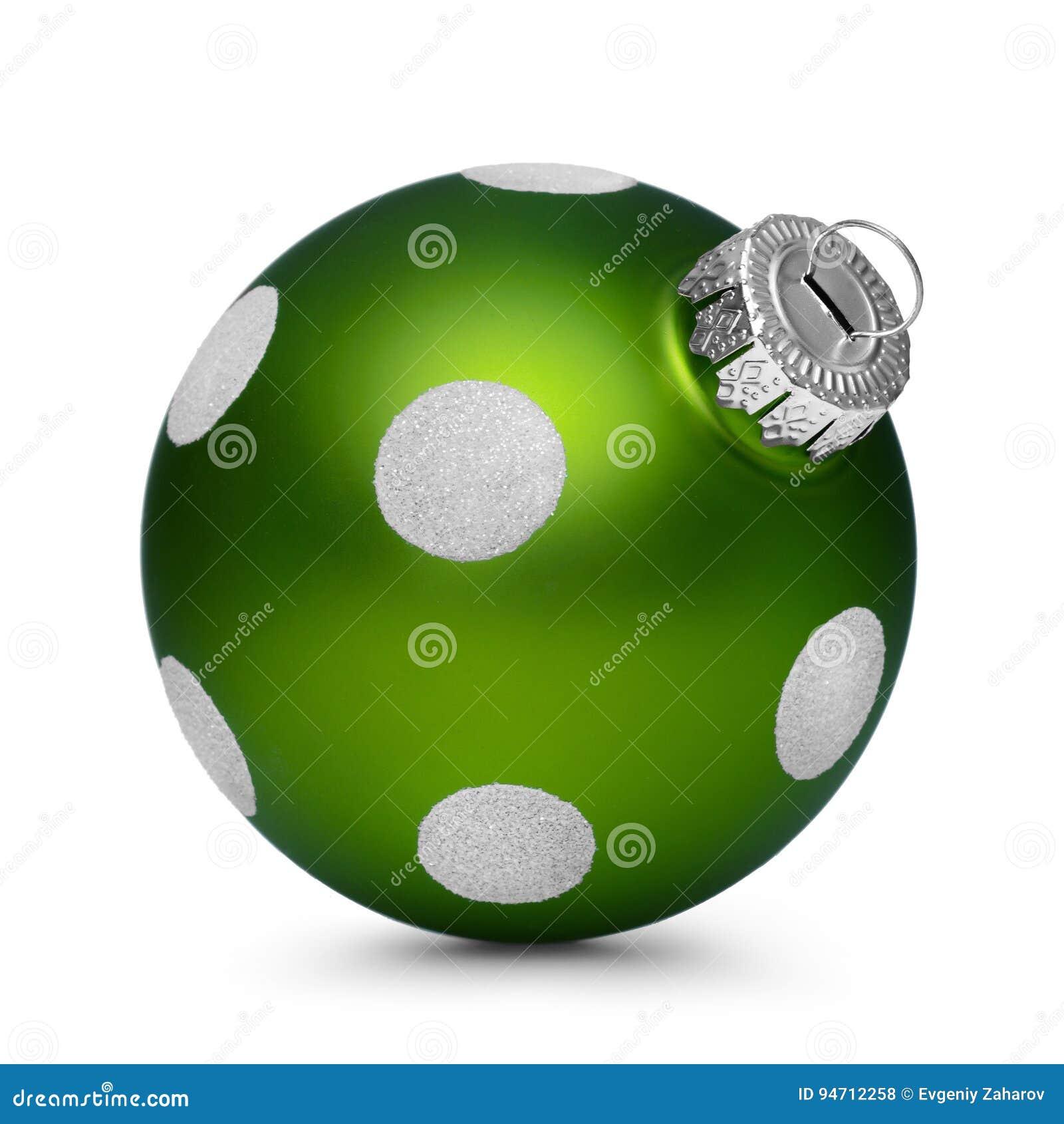 与在白色背景隔绝的斑点的绿色圣诞节球