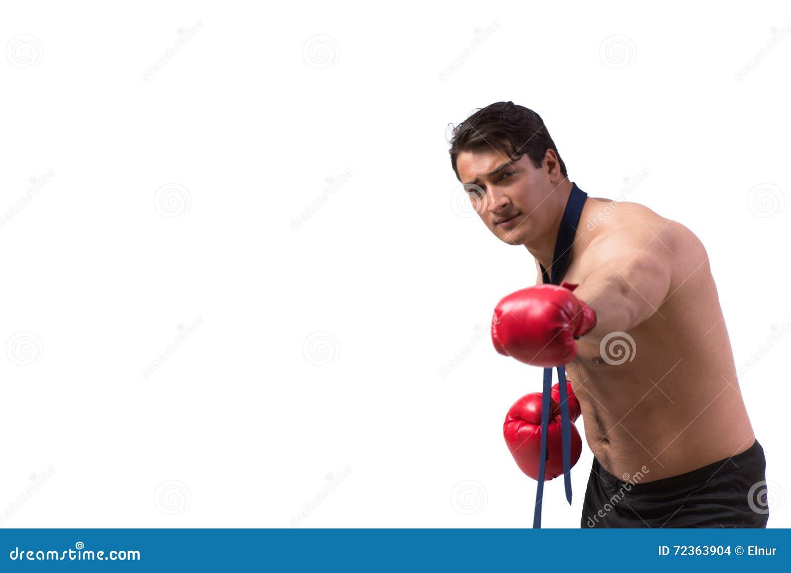 与在白色隔绝的拳击手套的被剥去的商人