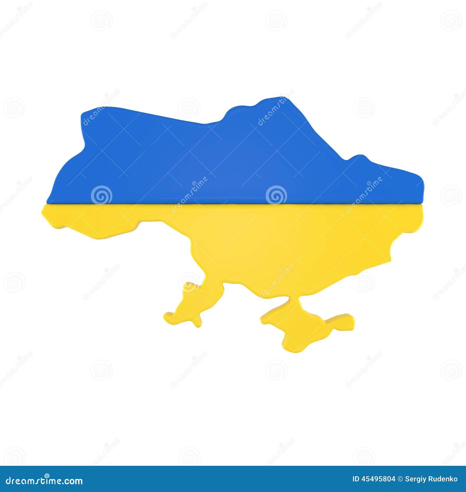 与在白色隔绝的旗子的乌克兰地图