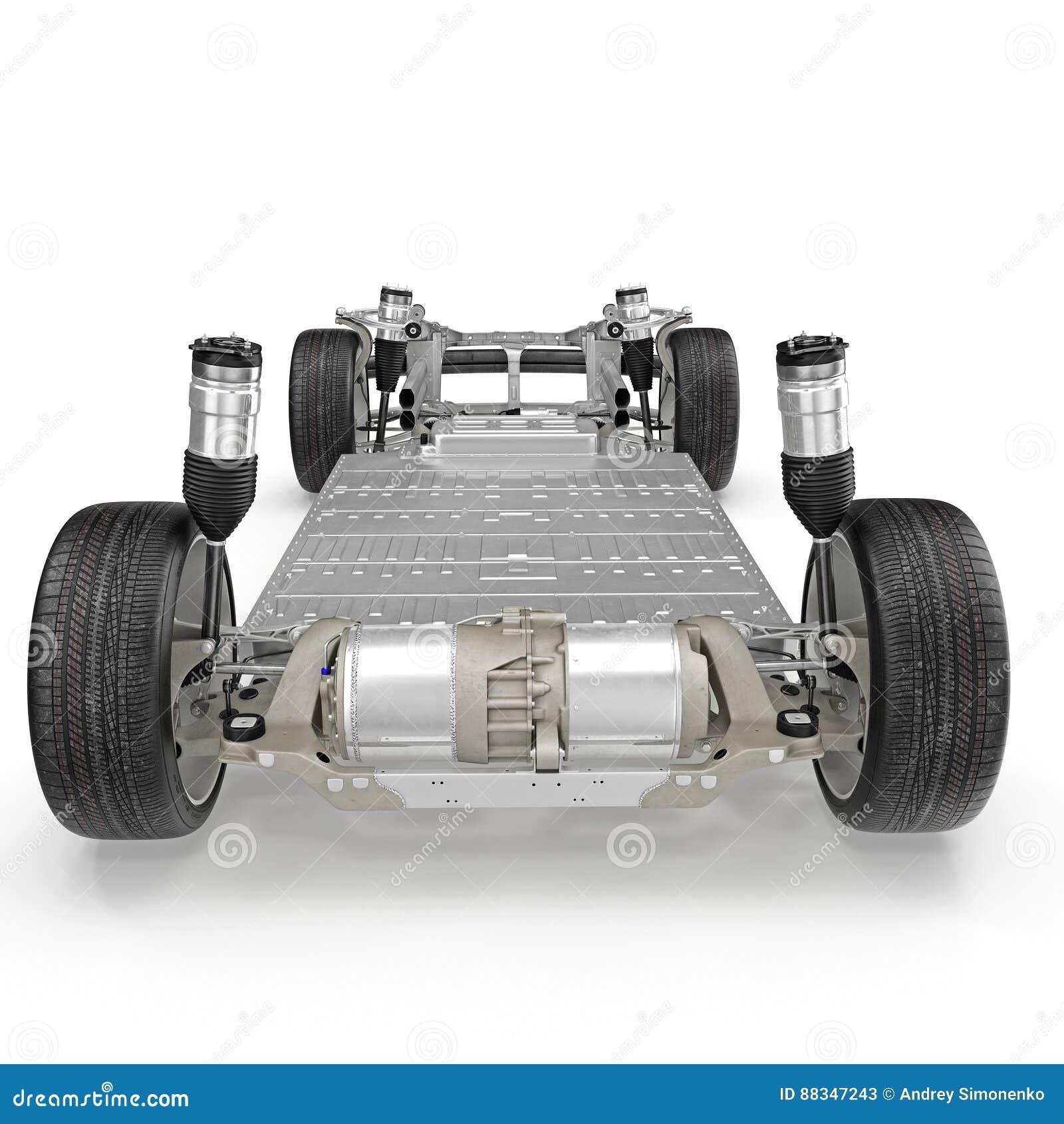 与在白色隔绝的电引擎的汽车底盘 查出的背面图白色 3d例证